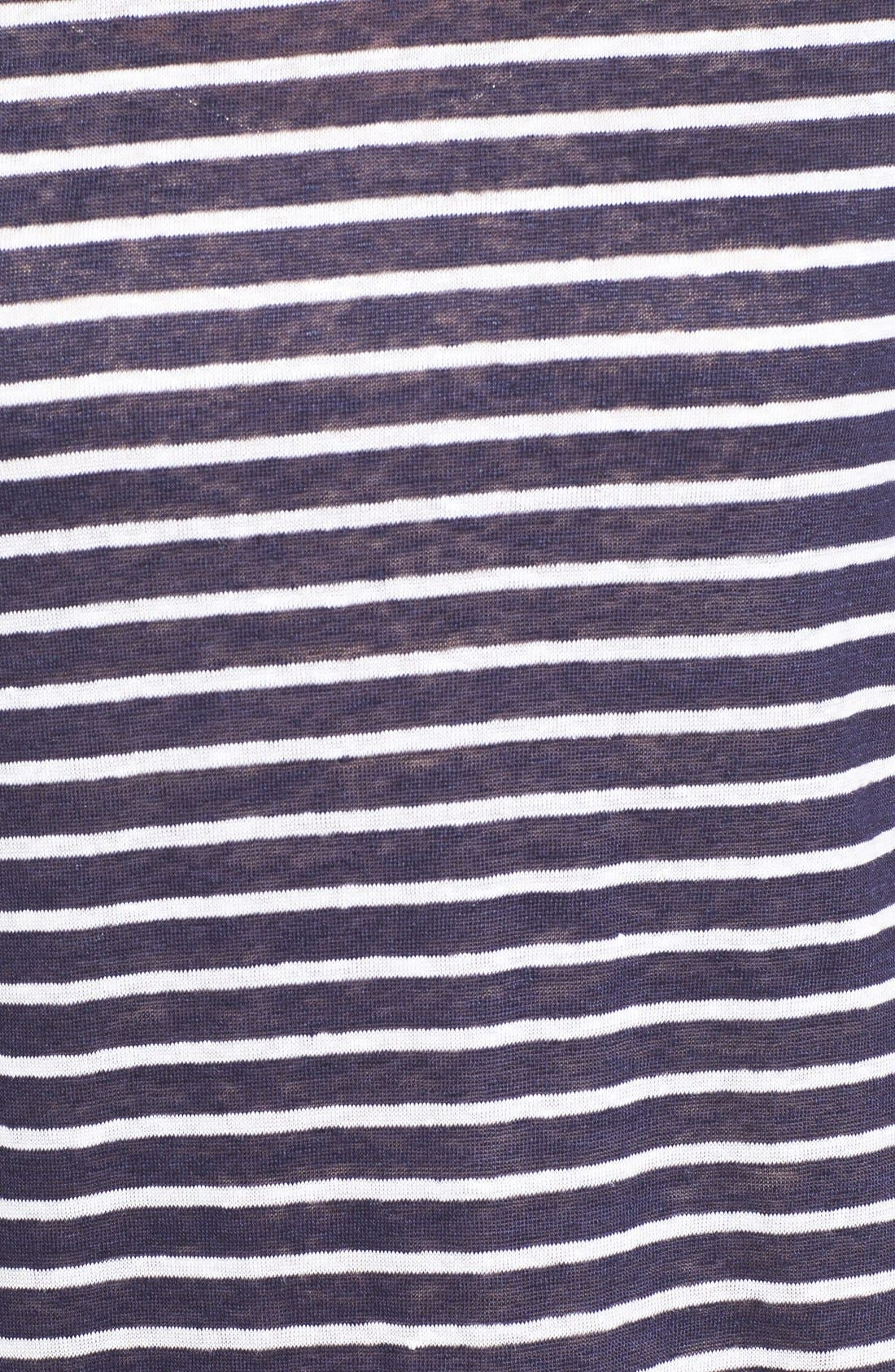 Alternate Image 5  - Nordstrom Collection Cap Sleeve Stripe Linen Tee
