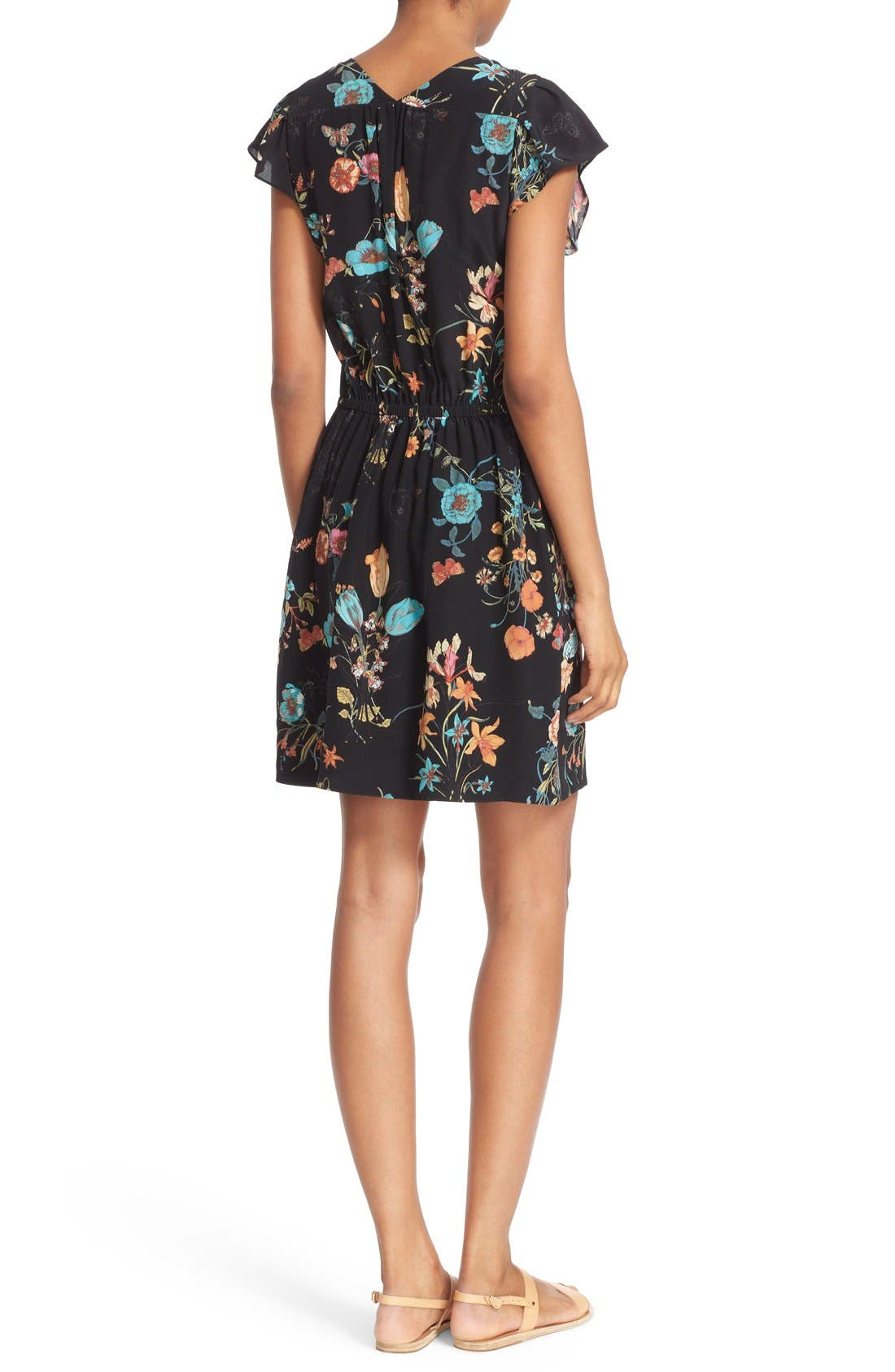 Alternate Image 2  - Rebecca Taylor 'Meadow Floral' Print Silk V-Neck Dress