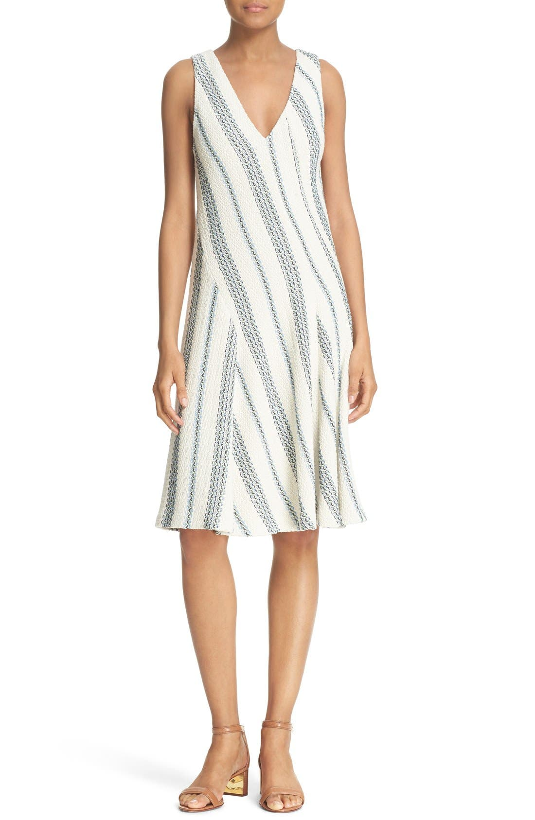 Main Image - Tory Burch 'Stacey' Stripe Tweed A-Line Dress