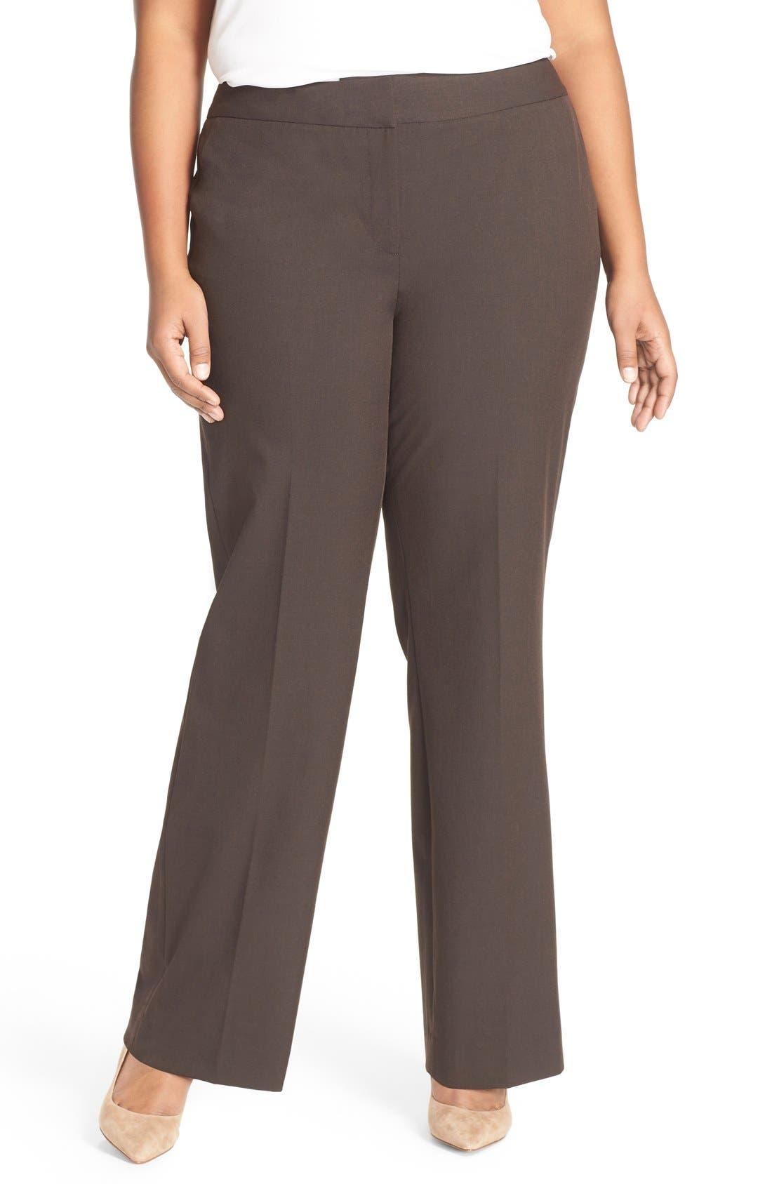 Sejour 'Ela' Stretch Curvy Fit Wide Leg Suit Pants (Plus Size & Petite Plus)