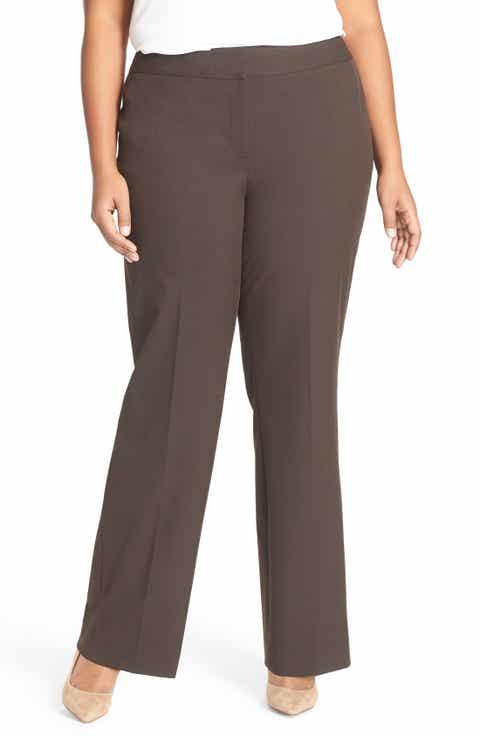 Sejour 'Ela' Stretch Curvy Fit Wide Leg Suit Pants (Plus Size   Petite Plus)