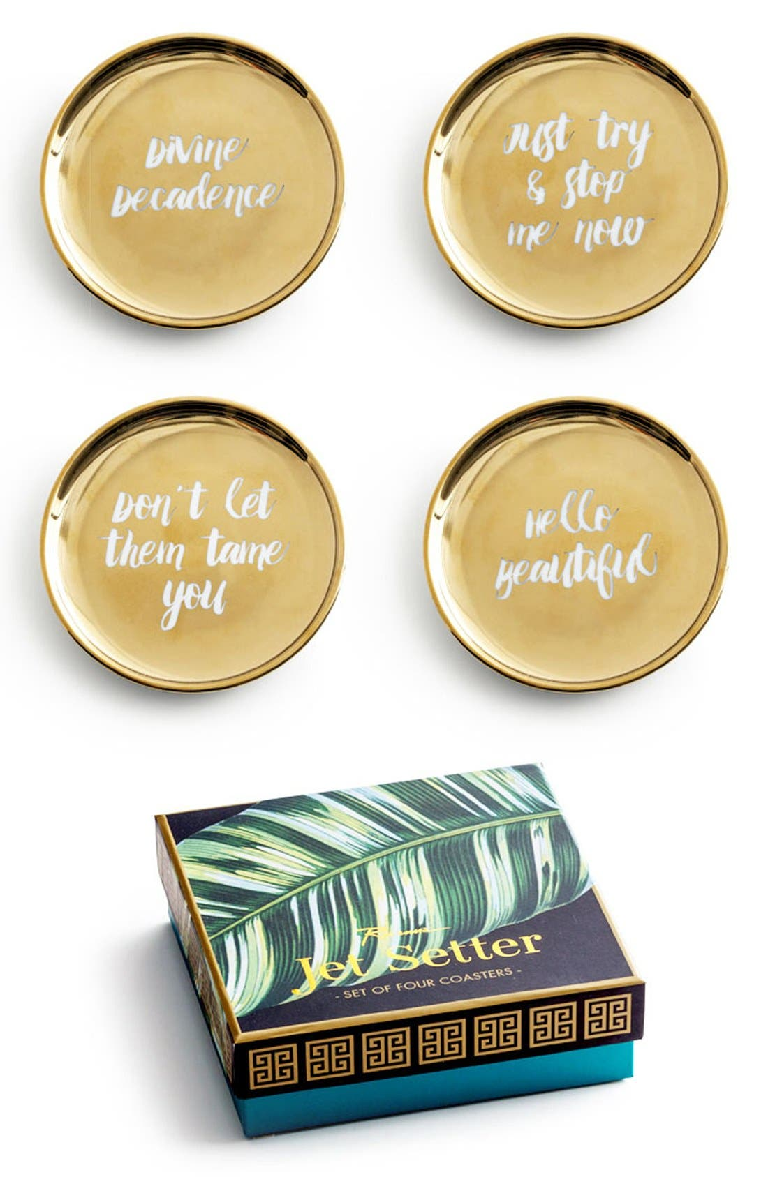 Rosanna Gold Trim Porcelain Coasters (Set of 4)