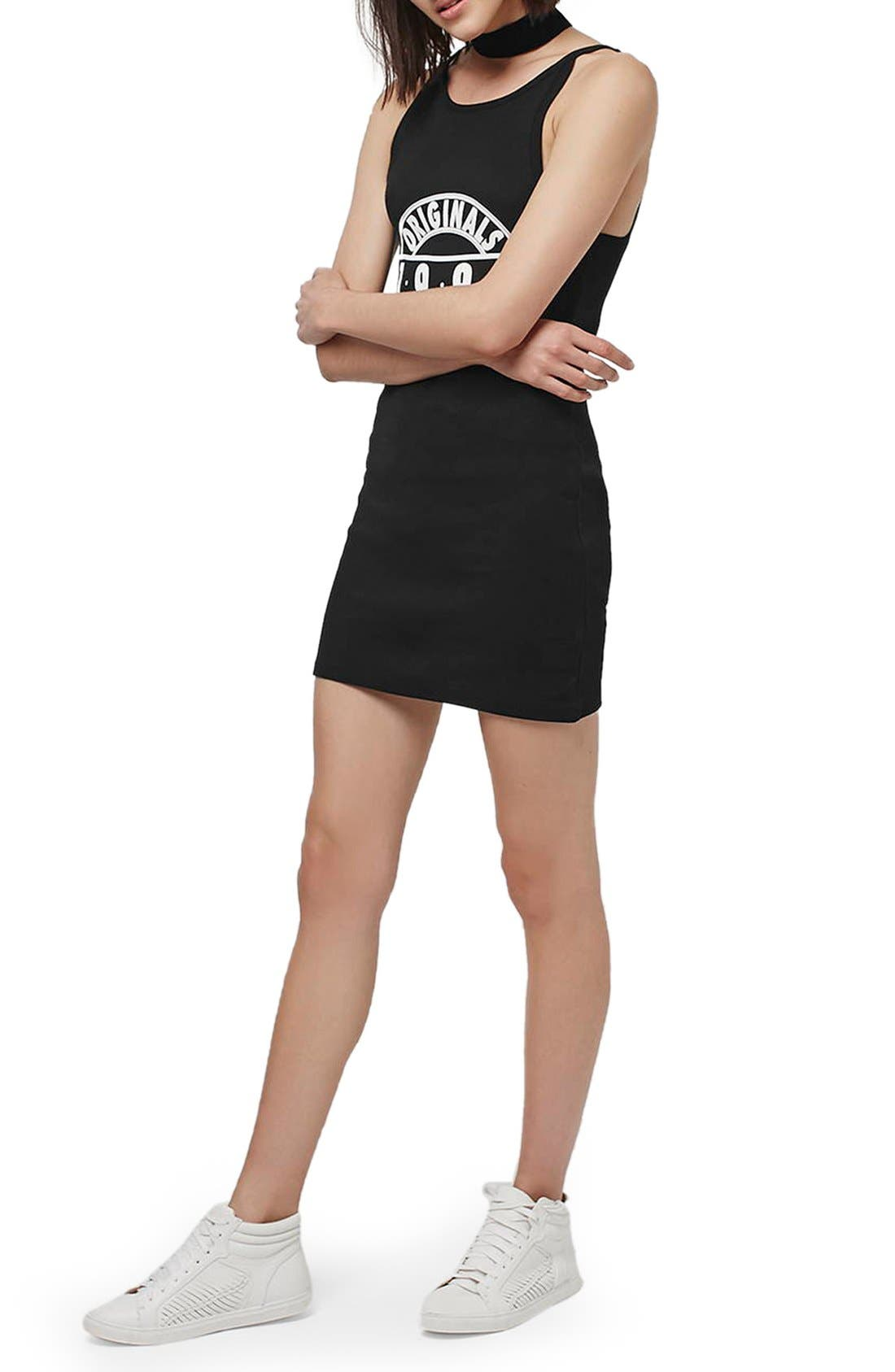 Main Image - Topshop '1995 Originals' Ribbed Body-Con Dress