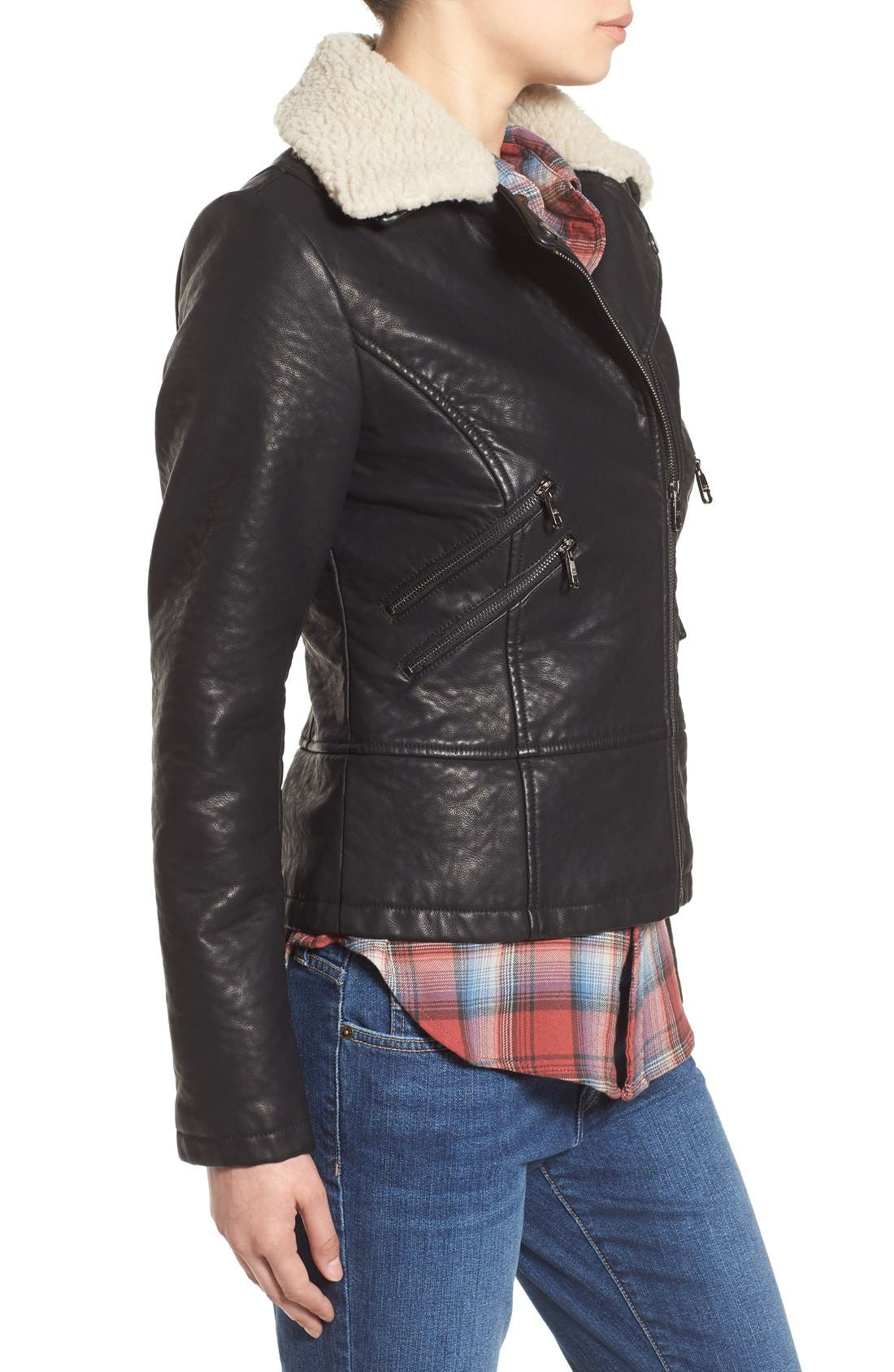 Alternate Image 3  - Steve Madden Faux Leather Moto Jacket with Faux Shearling Collar