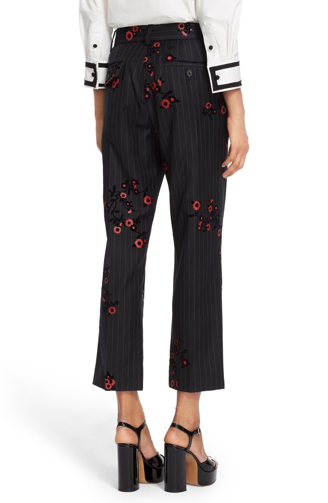 Alternate Image 2  - MARC JACOBS Floral & Pinstripe Crop Flare Wool Pants