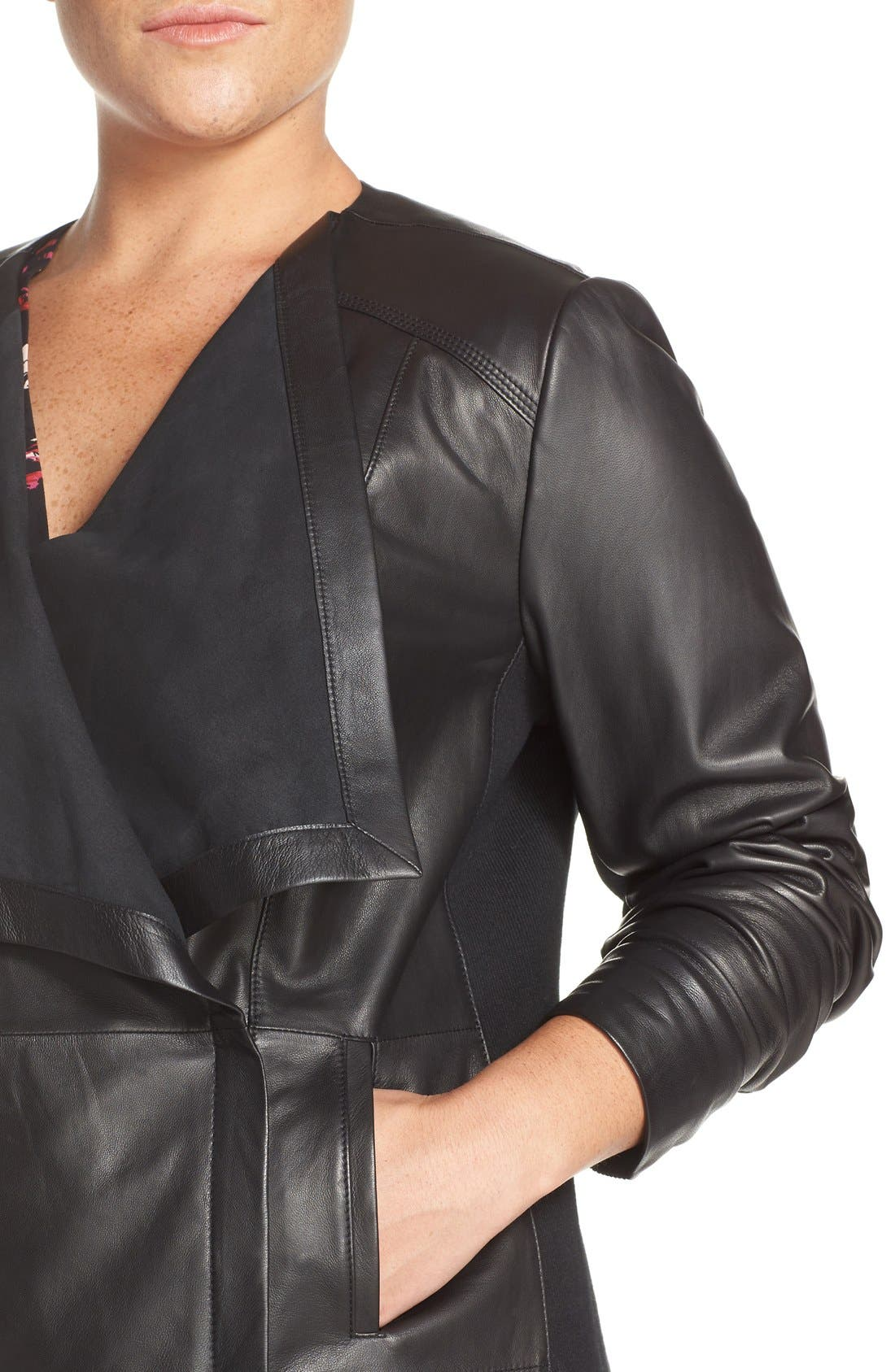 Alternate Image 5  - Sejour Drape Collar Leather Jacket (Plus Size)