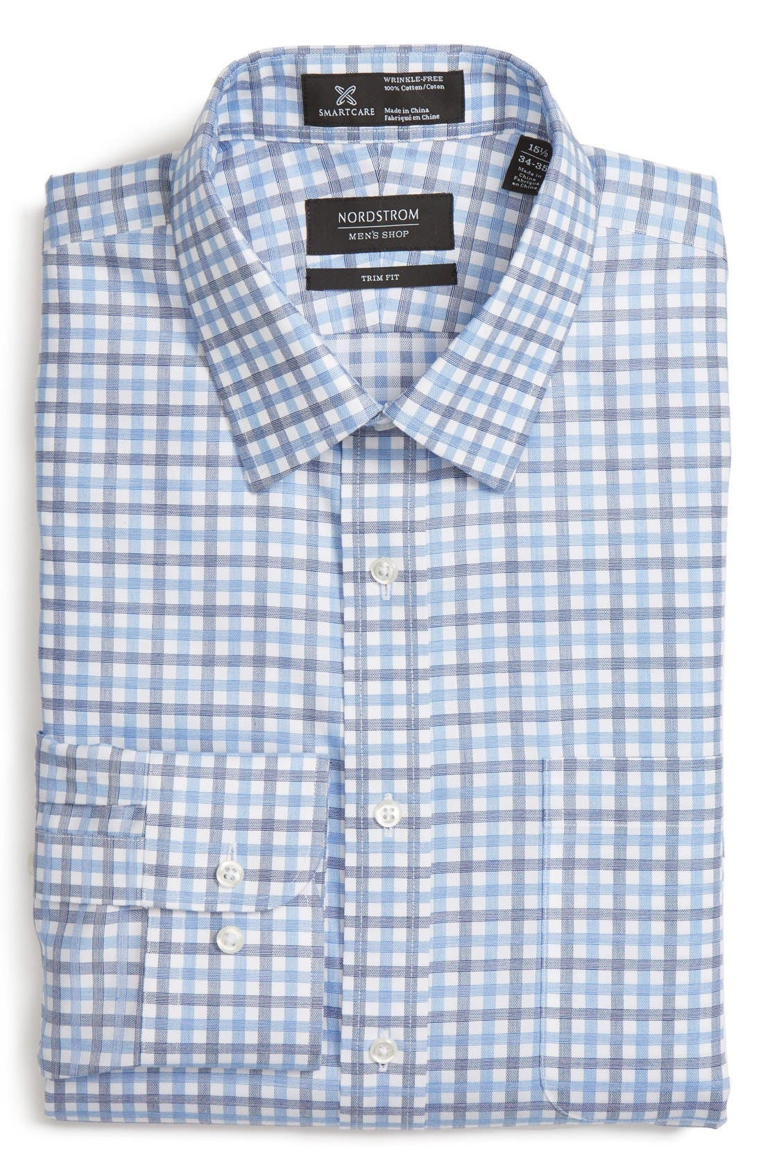 NORDSTROM MEN'S SHOP Smartcare™ Trim Fit Check Dress