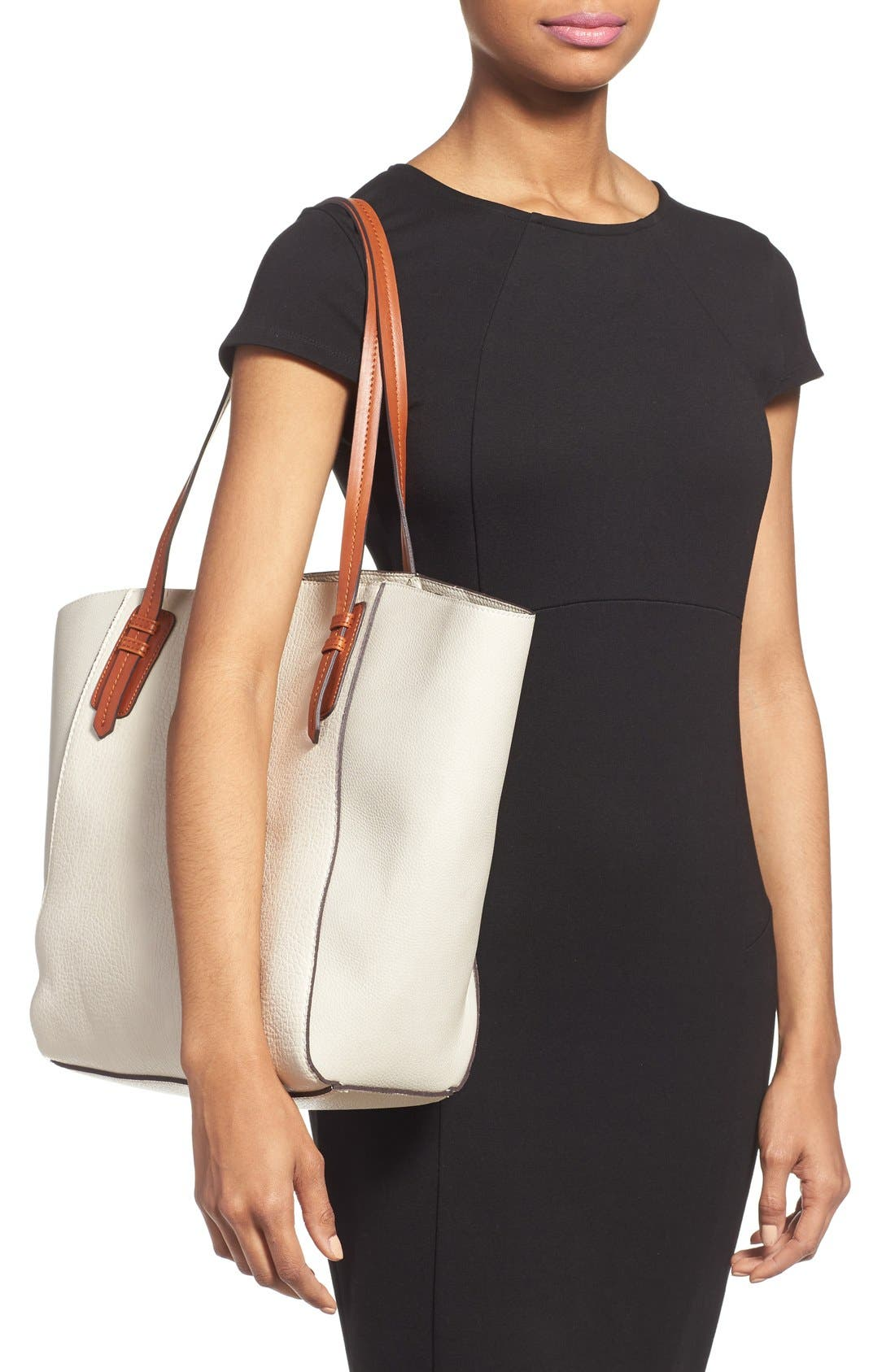 Alternate Image 2  - Sole Society Faux Leather Trapeze Tote