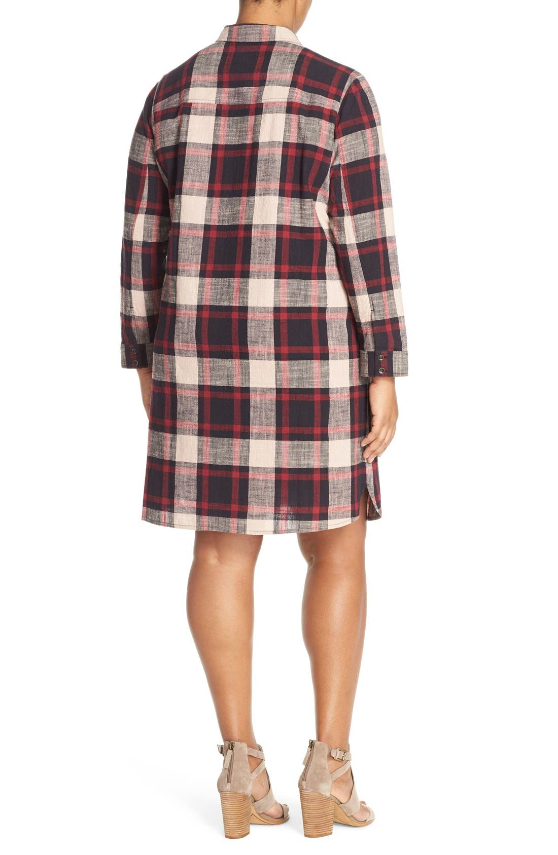 Alternate Image 2  - Caslon® Two-Pocket Plaid Shirtdress (Plus Size)