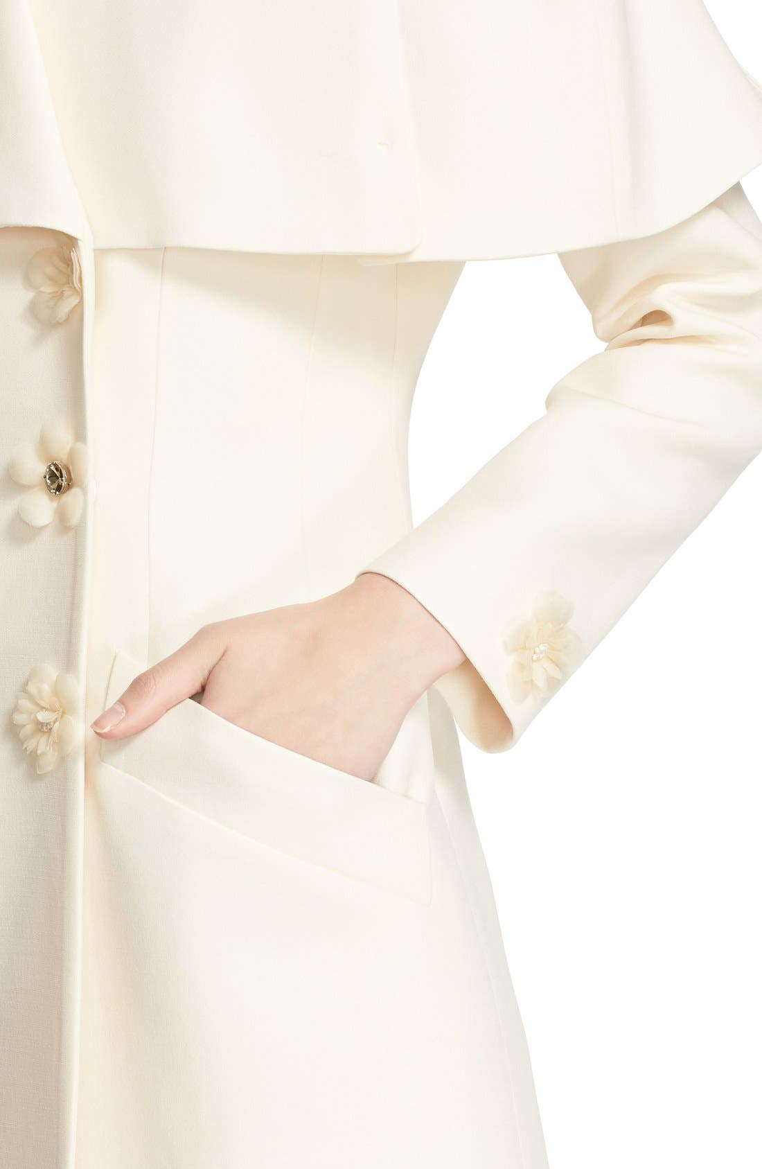 Alternate Image 6  - Fendi Floral & Crystal Embellished Wool & Silk Gazar Coat