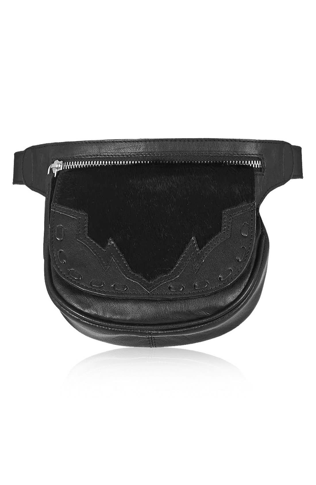 Main Image - Topshop Western Leather & Calf Hair Belt Bag