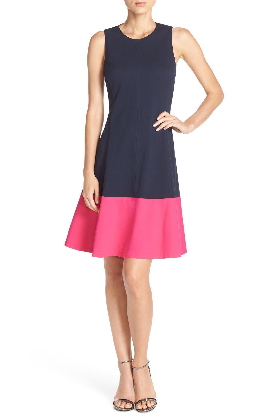 Alternate Image 4  - Eliza J Colorblock Hem Fit & Flare Dress (Regular & Petite)
