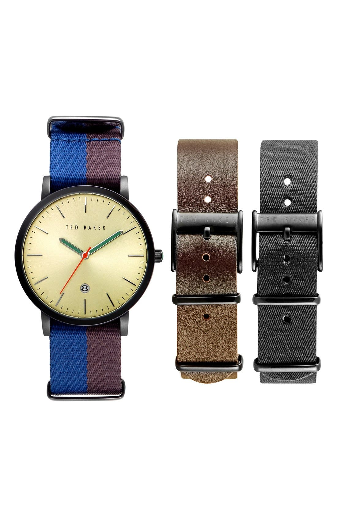 Ted Baker London 'Smart Casual' Leather & Canvas Strap Watch Set, 40mm