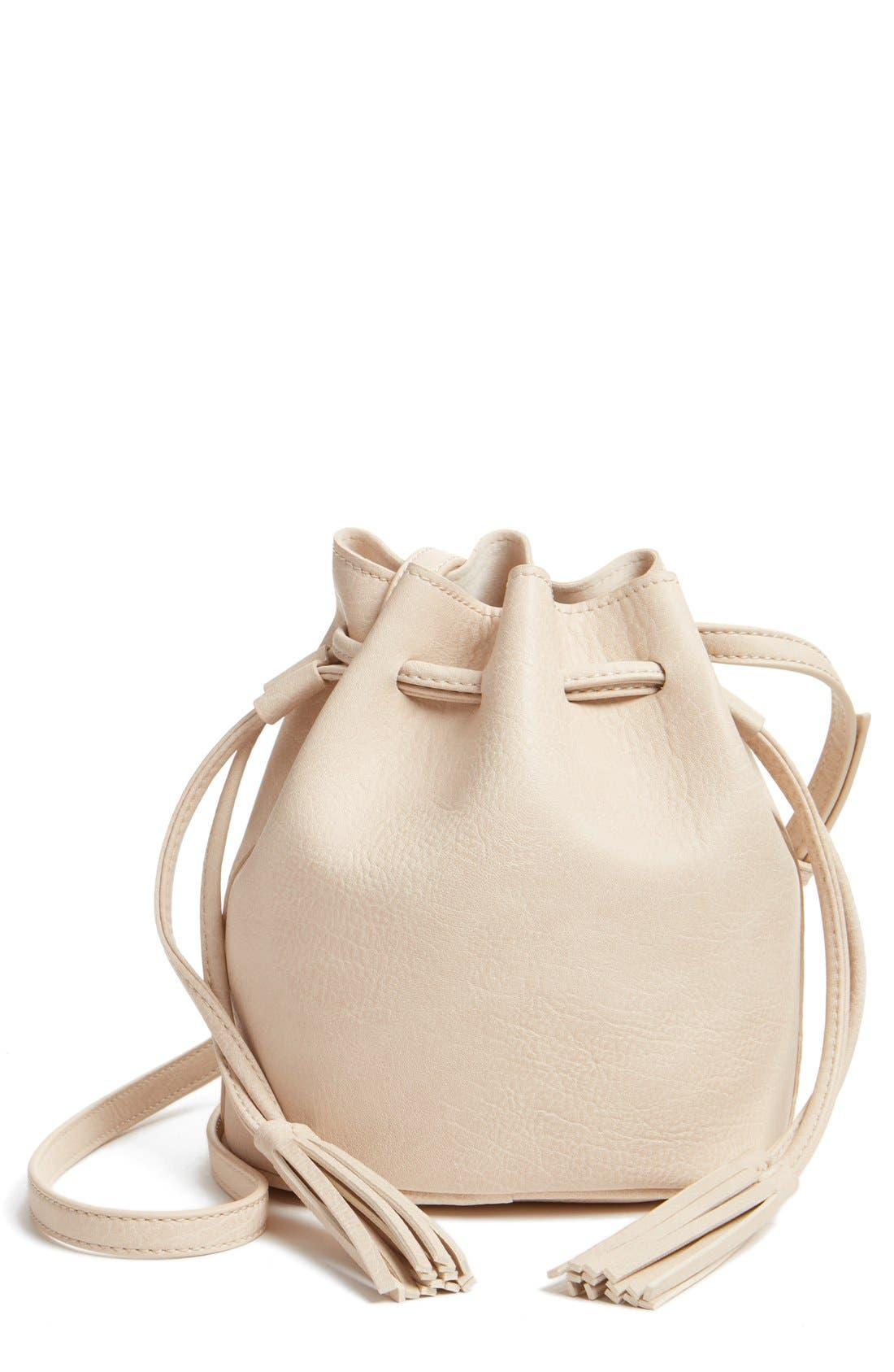 Main Image - Street Level Mini Faux Leather Tassel Bucket Bag