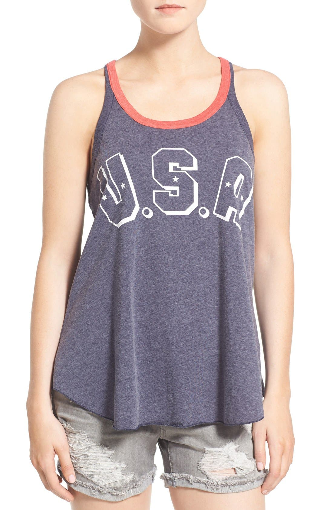 Alternate Image 1 Selected - Chaser 'USA' Graphic Jersey Swing Tank