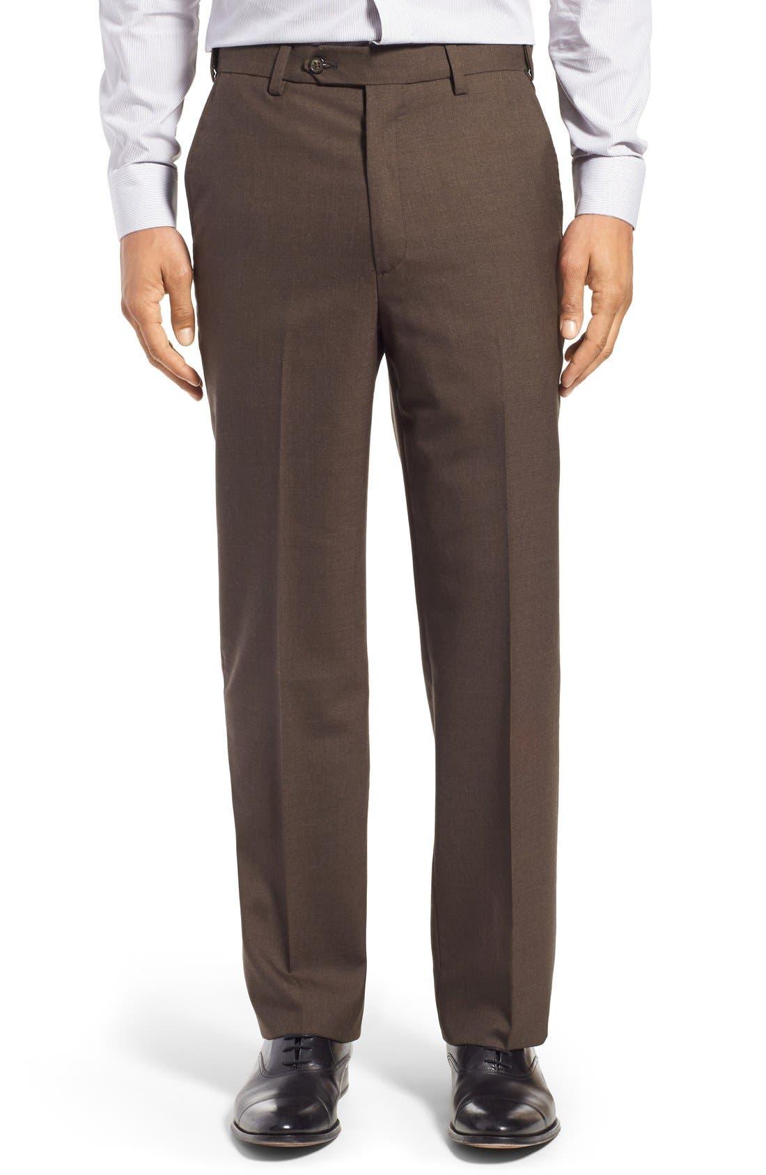 Berle Self Sizer Waist Flat Front Wool Trousers