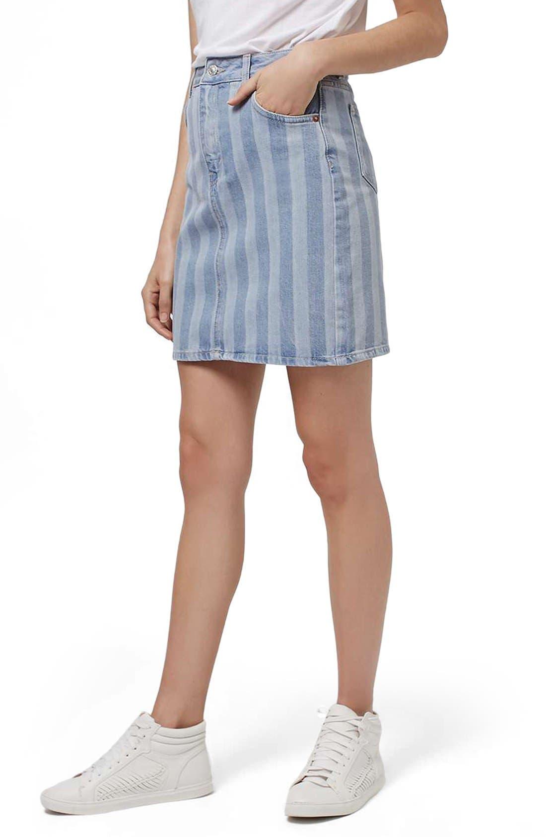 Main Image - Topshop Stripe Denim Skirt