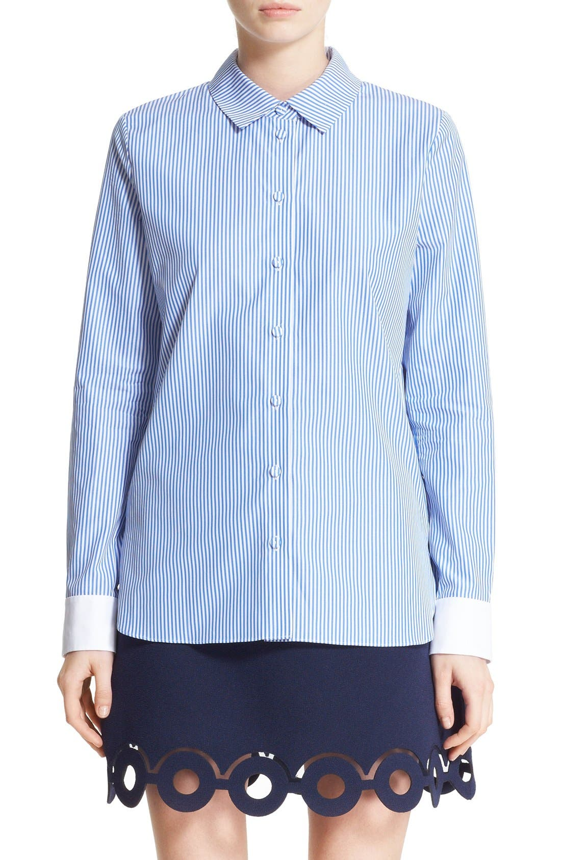 Alternate Image 1 Selected - Carven Stripe Poplin Blouse