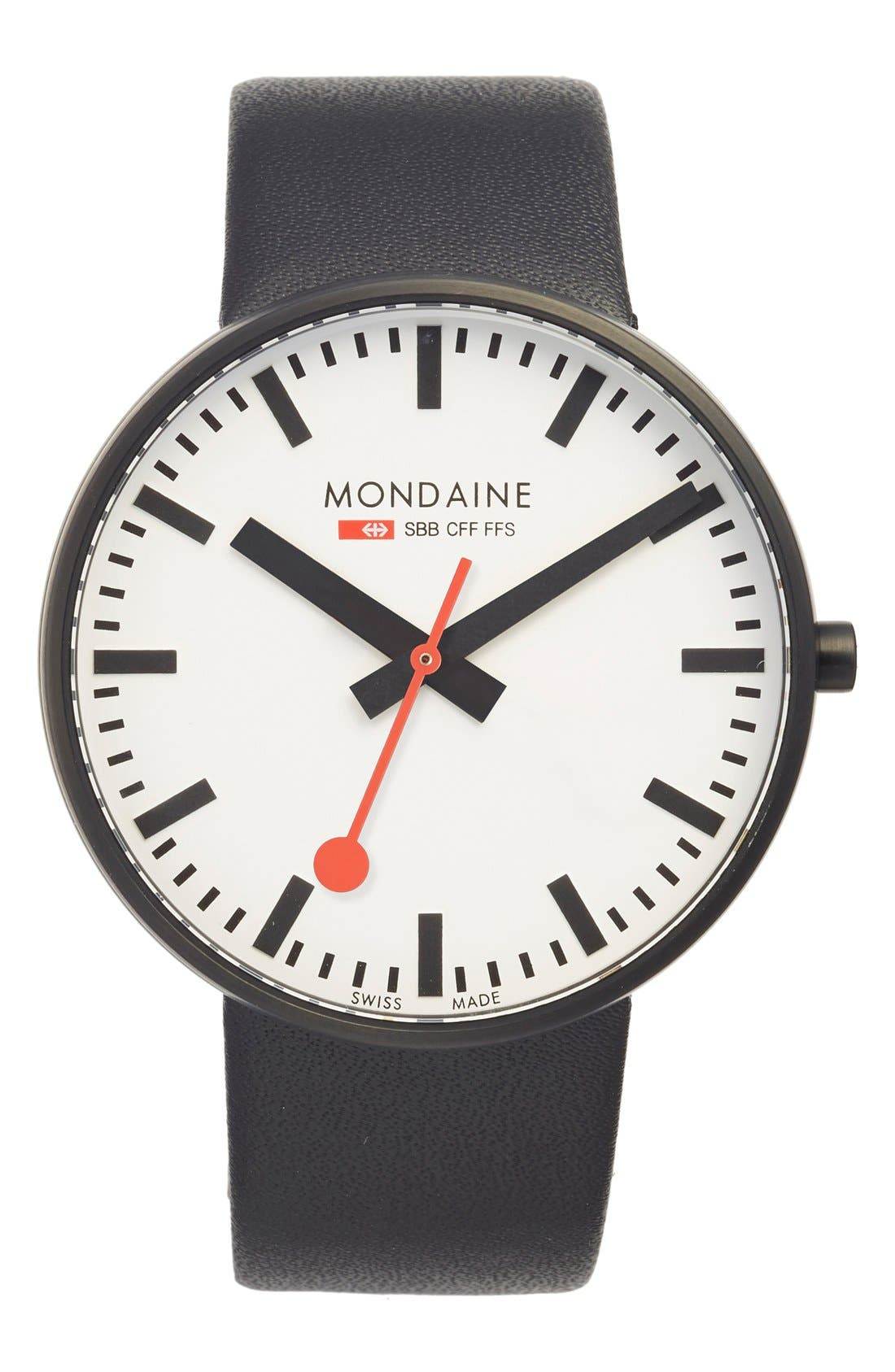 Mondaine 'Evo' Leather Strap Watch, 42mm