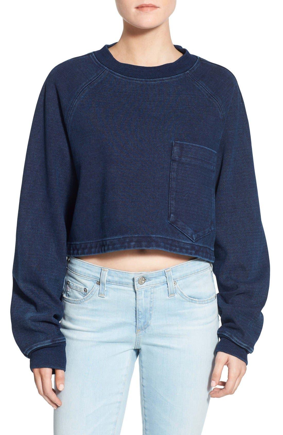 Alternate Image 1 Selected - AG Indigo Capsule Collection Cubo Crop Sweatshirt