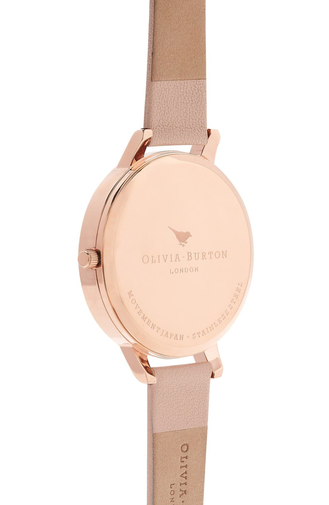 Alternate Image 3  - Olivia Burton 'Painterly Prints' Leather Strap Watch, 38mm