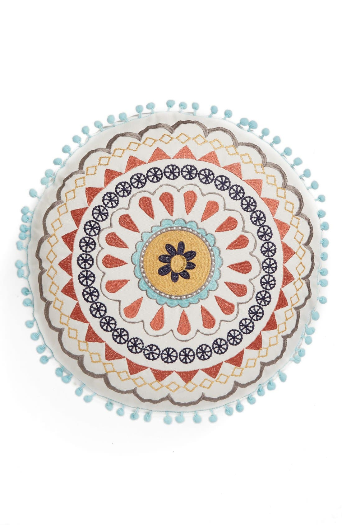 Alternate Image 1 Selected - Levtex Embroidered Round Pillow