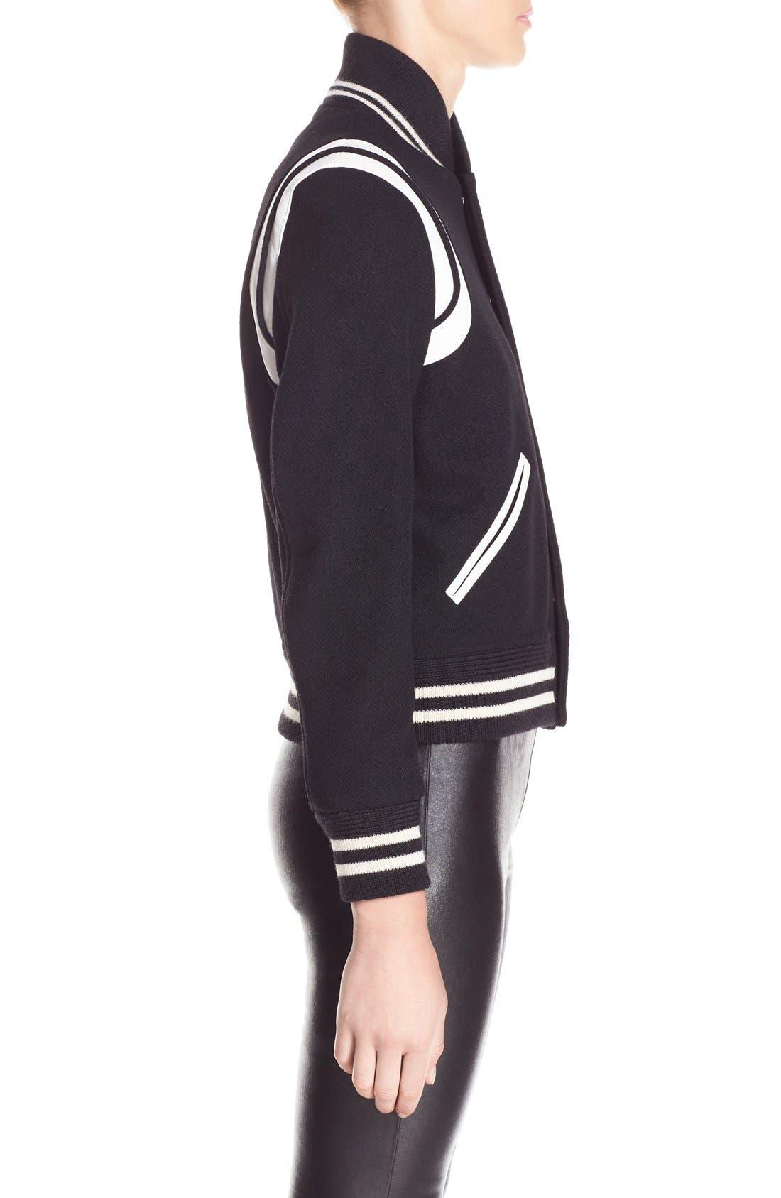 Alternate Image 4  - Saint Laurent 'Teddy' White Leather Trim Bomber Jacket