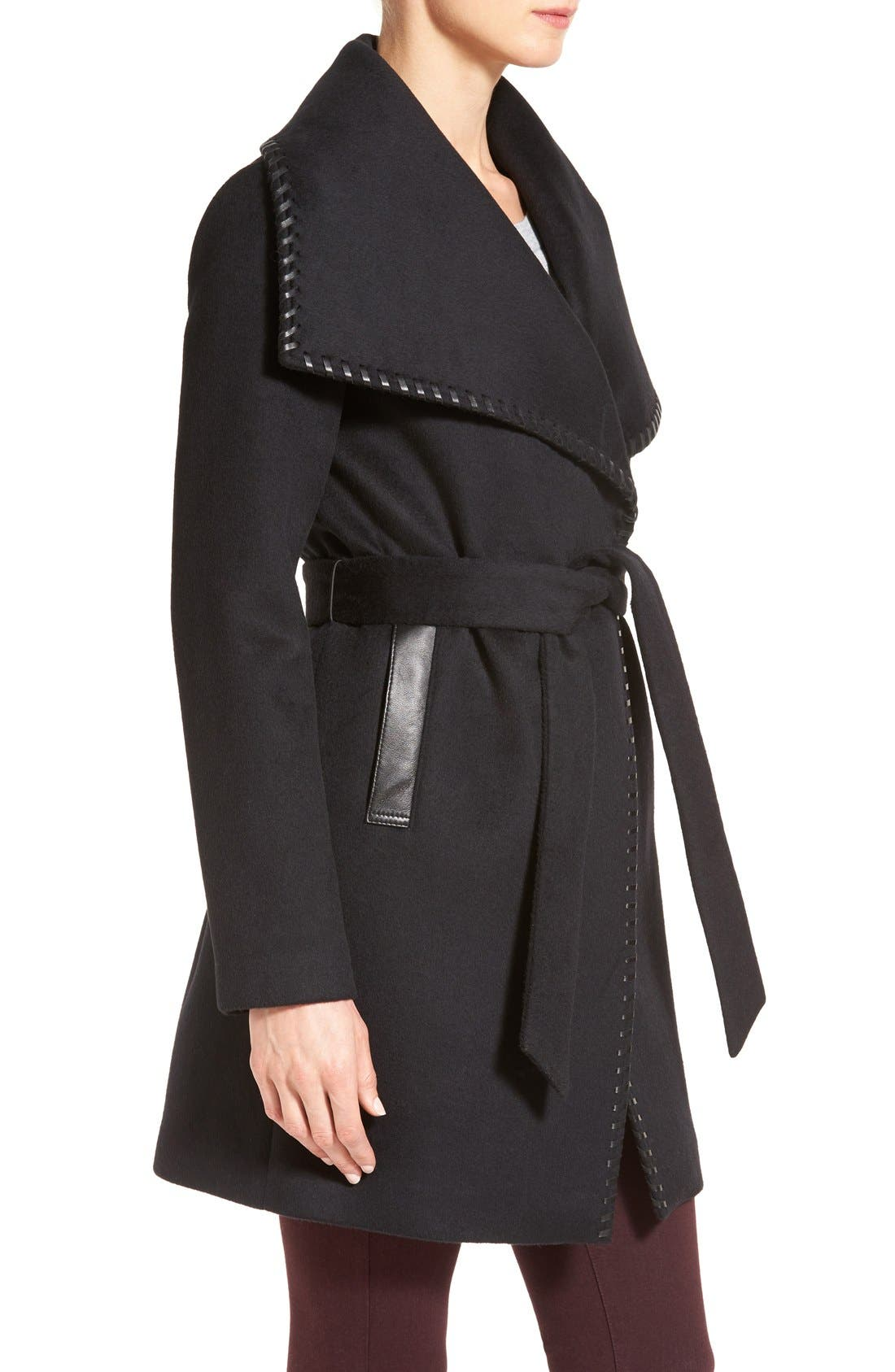 Alternate Image 3  - Elie Tahari Whipstitch Wool Blend Wrap Coat