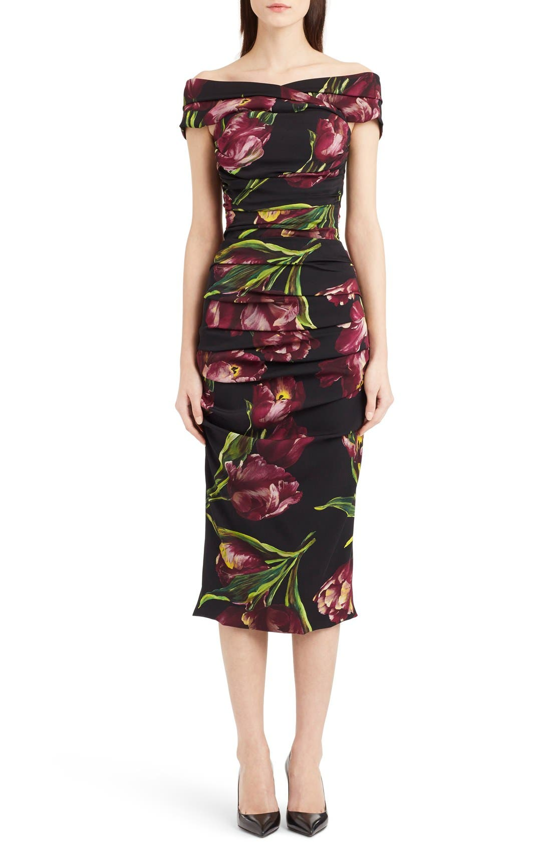 Main Image - Dolce&Gabbana Tulip Print Ruched Off the Shoulder Charmeuse Dres