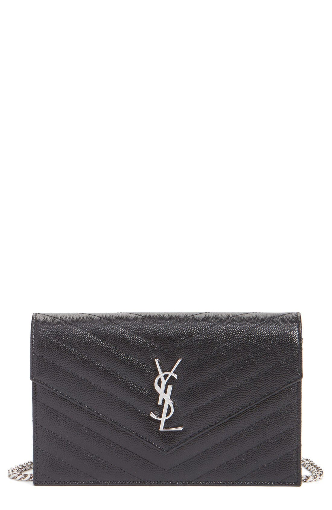 Alternate Image 1 Selected - Saint Laurent Quilted Calfskin Leather Wallet on a Chain