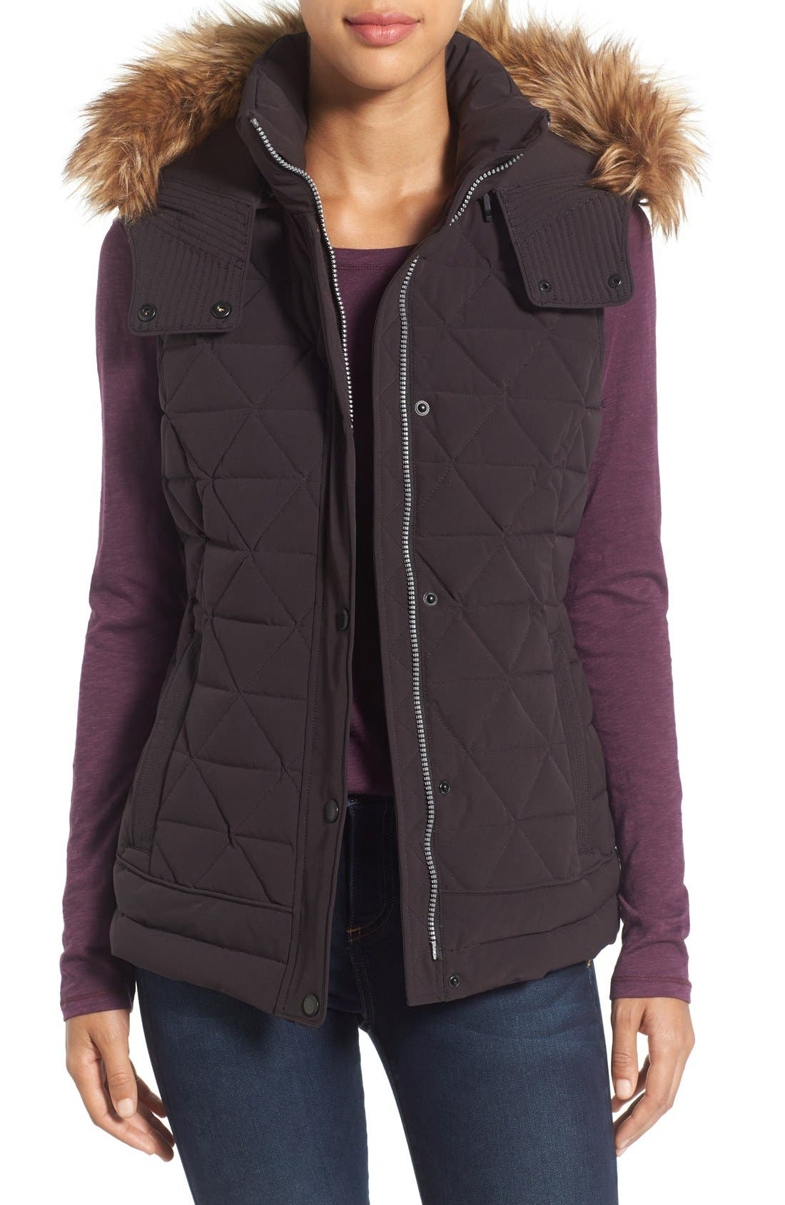 Main Image - Marc New York by Andrew Marc 'Thea' Removable Faux Fur Collar Quilted Down Vest