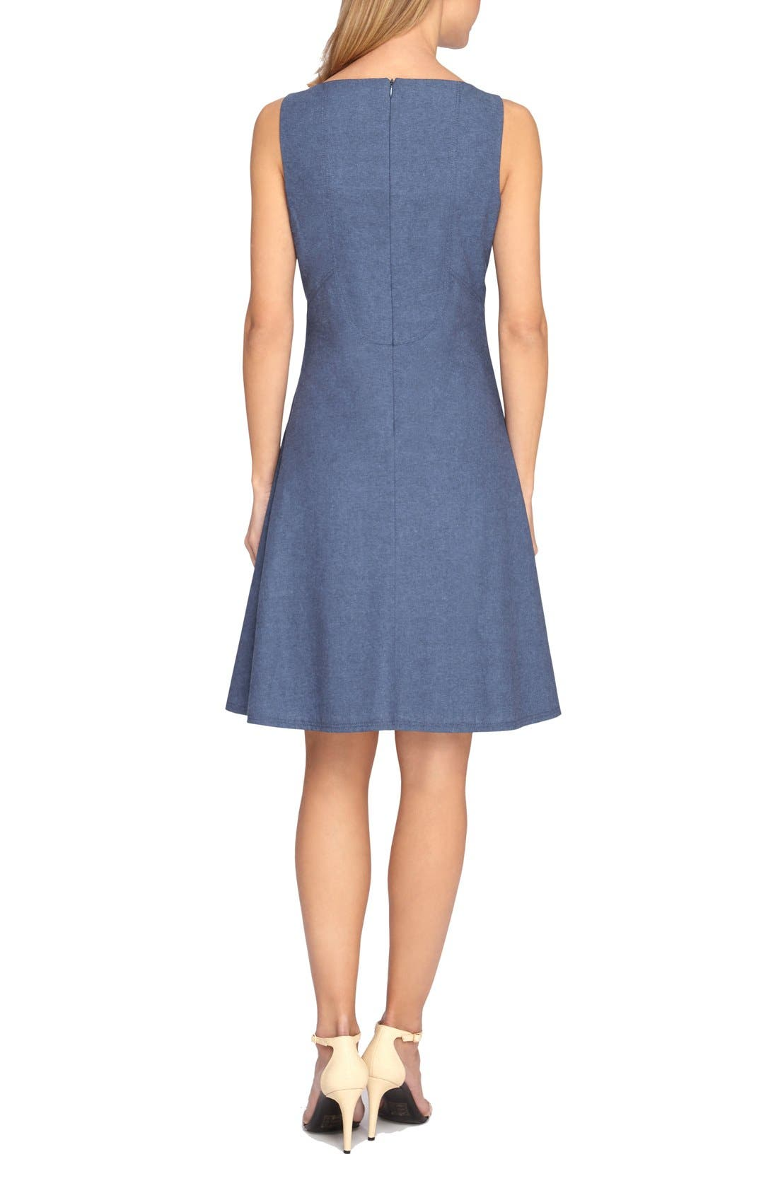 Alternate Image 2  - Tahari Chambray Fit & Flare Dress