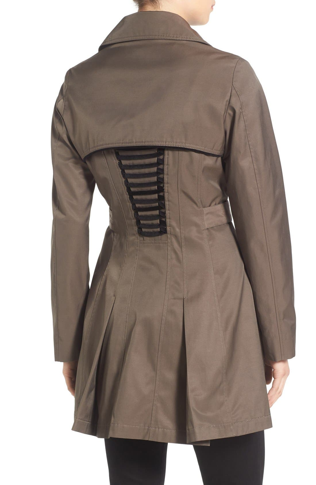 Alternate Image 2  - Betsey Johnson Corset Back Trench Coat