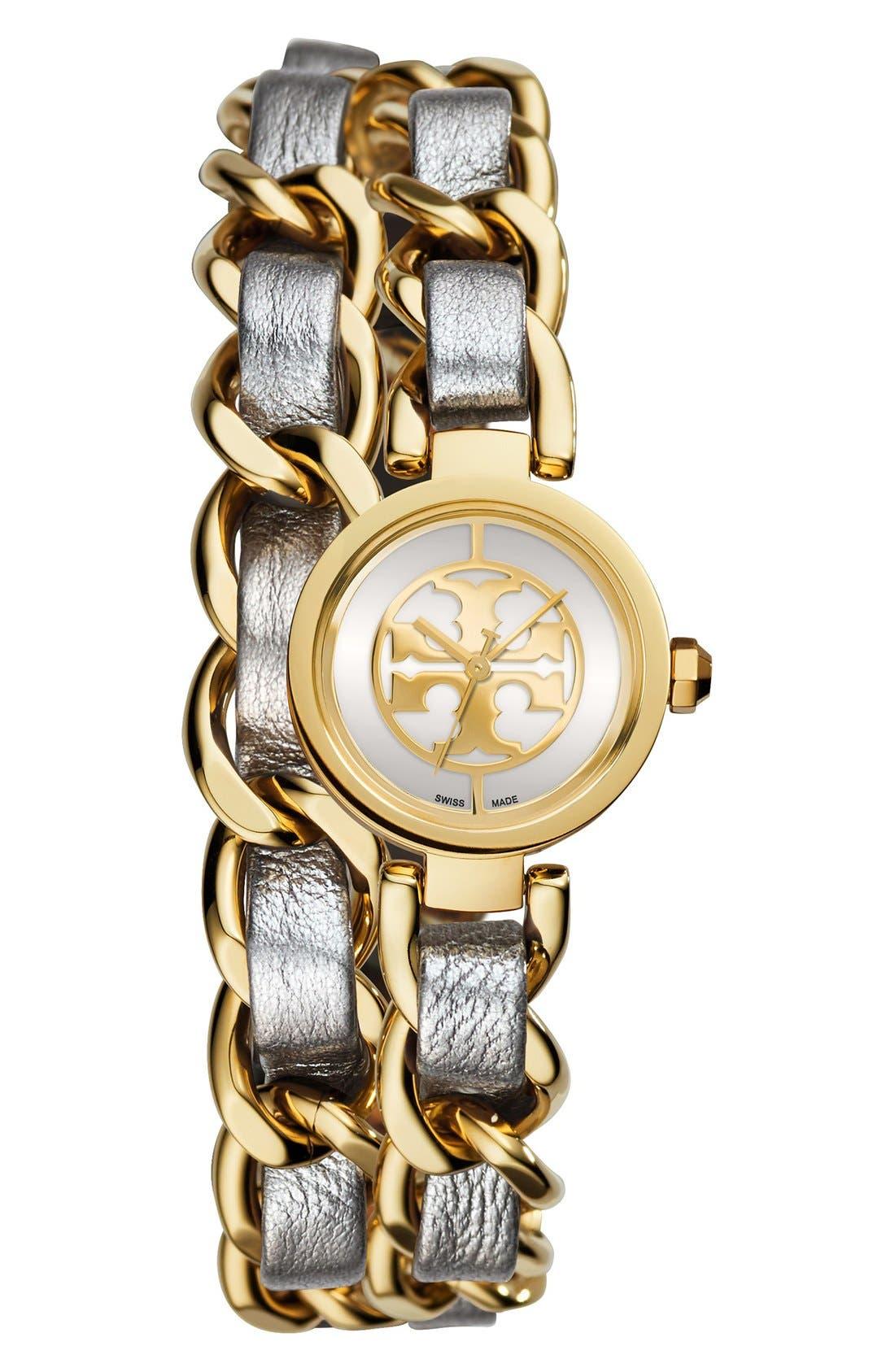 Main Image - Tory Burch 'Mini Reva' Double Wrap Chain Watch, 20mm