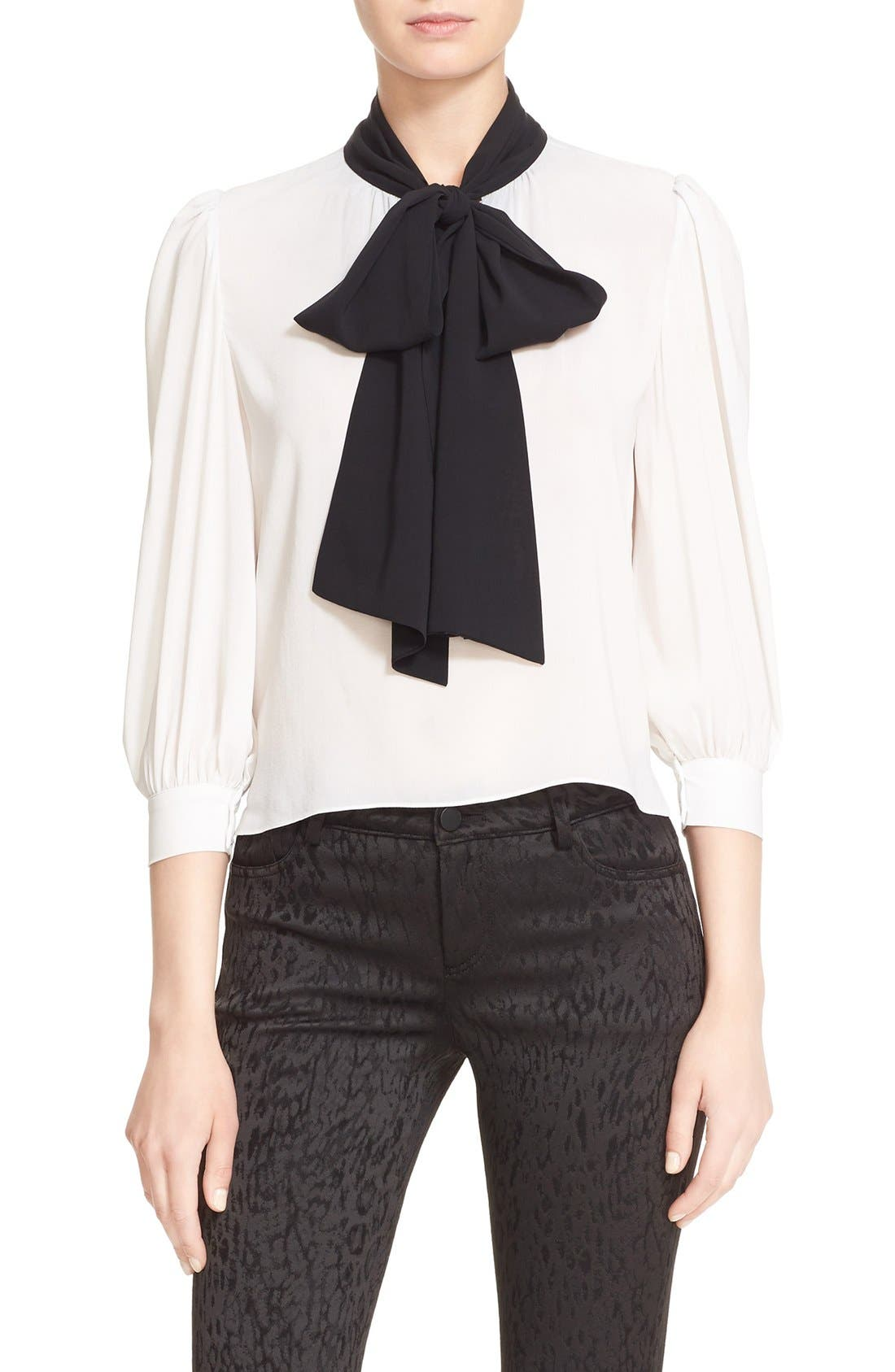 Alternate Image 1 Selected - Alice + Olivia 'Treena' Contrast Bow Stretch Silk Blouse