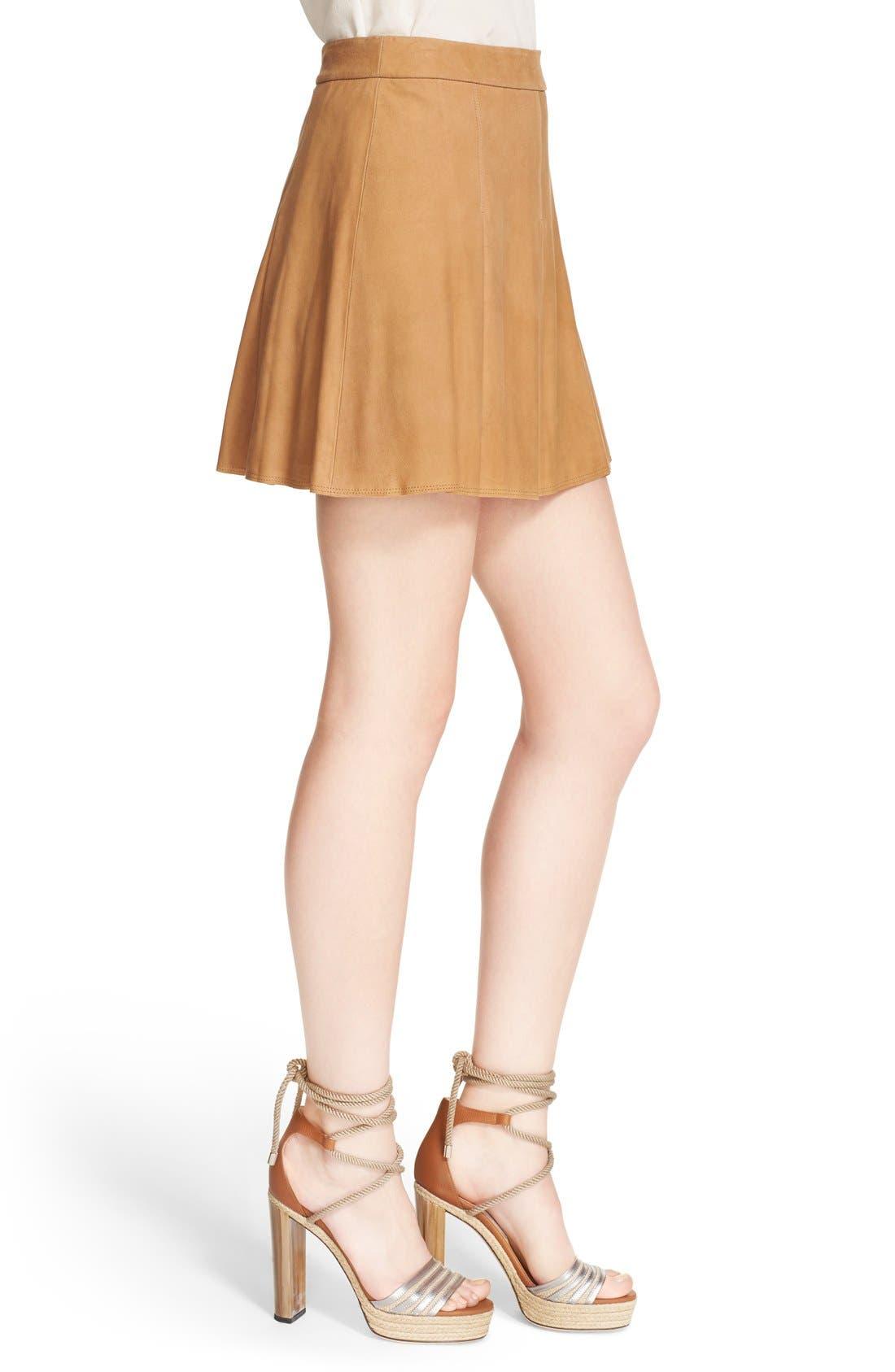 Alternate Image 4  - Alice + Olivia 'Lee' Pleated Suede Skirt