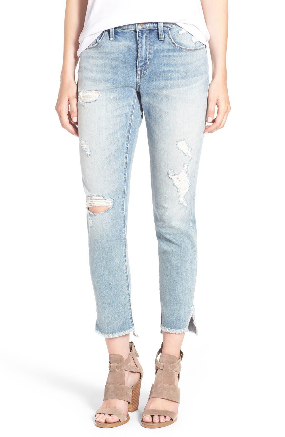 Alternate Image 1 Selected - Treasure&Bond Ankle Boyfriend Skinny Jeans (Gravel Light Destroy)