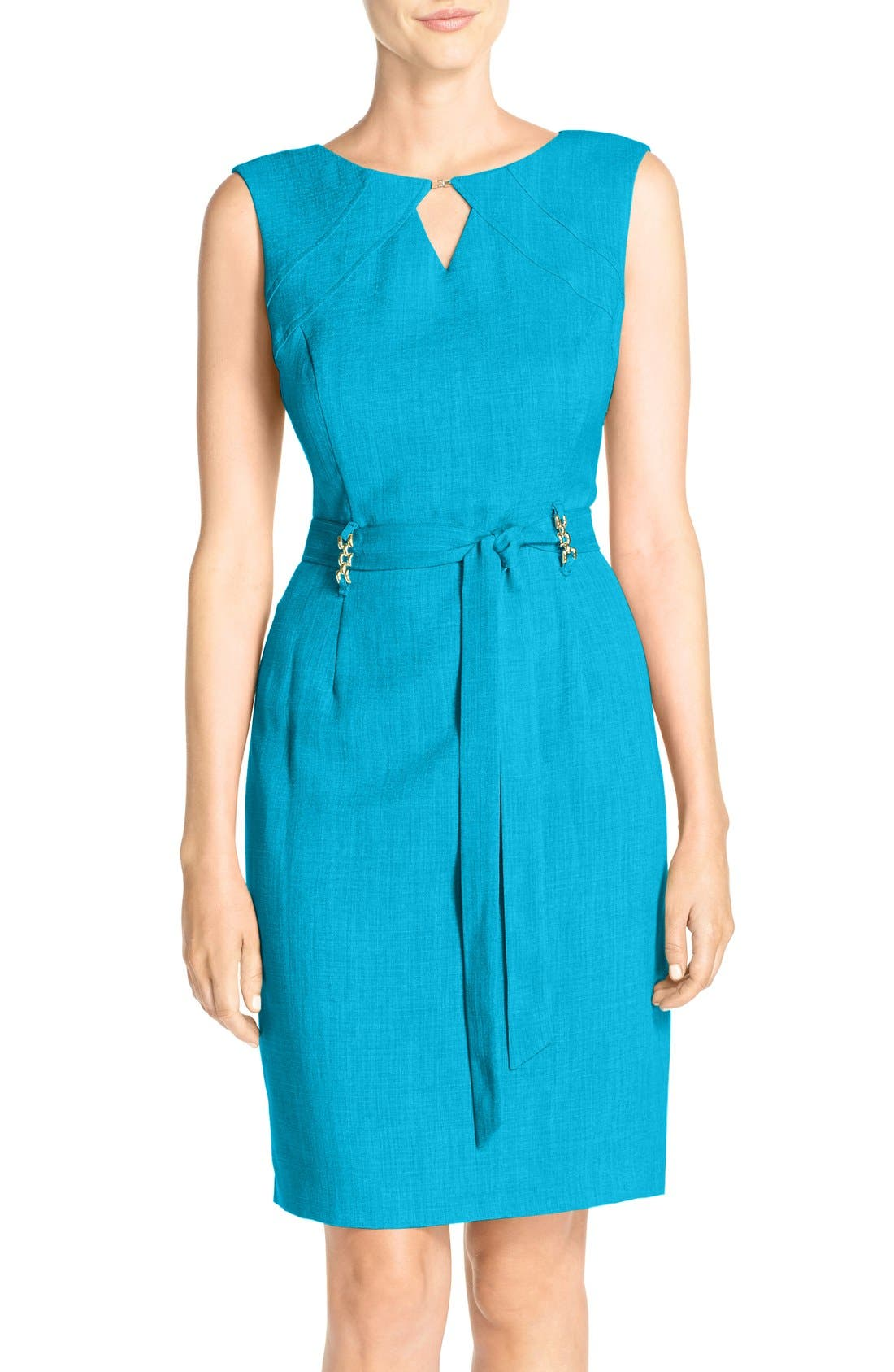 ELLEN TRACY Cutout Woven Sheath Dress