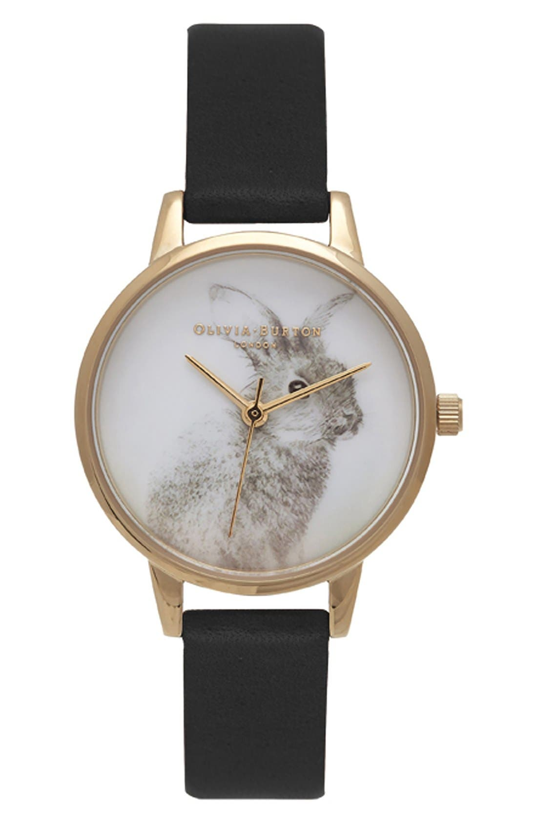 Olivia Burton 'Woodland Bunny' Faux Leather Strap Watch, 30mm