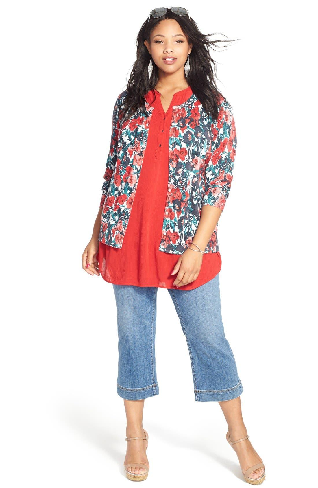 Sejour Cardigan, Tunic & Crop Jeans (Plus Size)