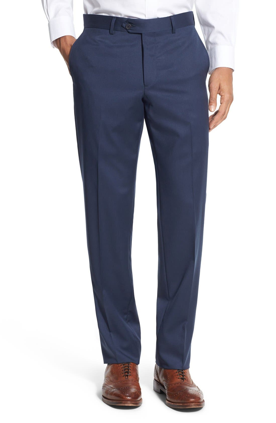 Alternate Image 1 Selected - Nordstrom Men's Shop Flat Front Wool Trousers