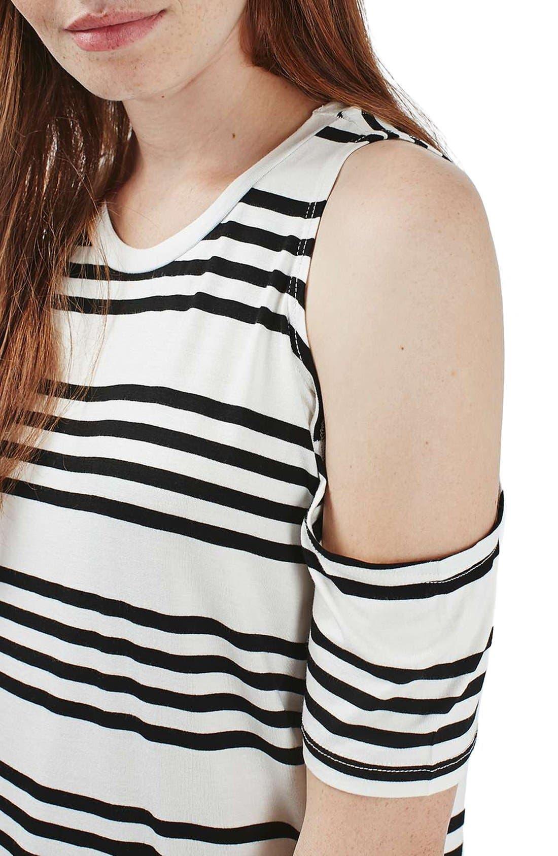 Alternate Image 6  - Topshop Stripe Cold Shoulder Tee