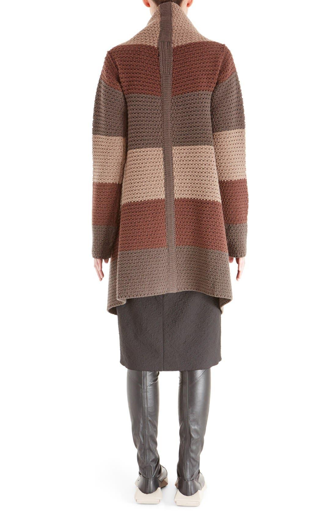 Alternate Image 2  - Rick Owens Stripe Drape Front Wool Cardigan