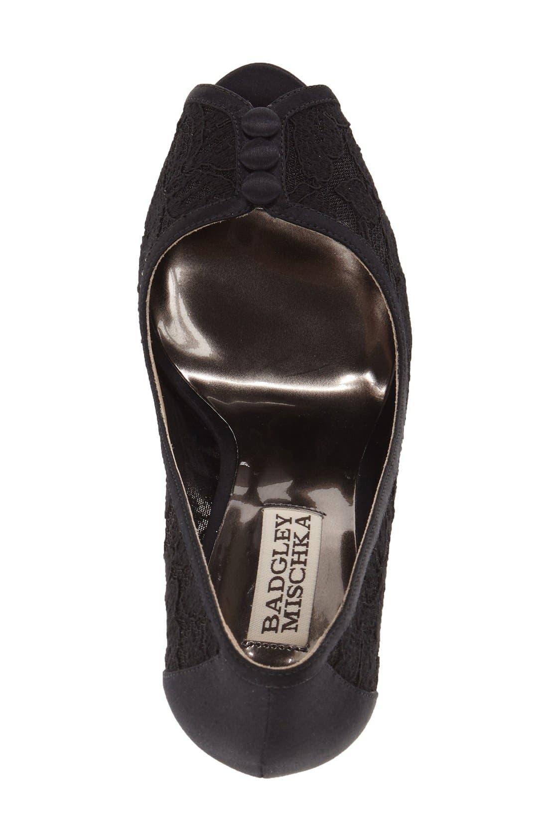 Alternate Image 3  - Badgley Mischka 'Nerissa' Lace Peep Toe Pump (Women)