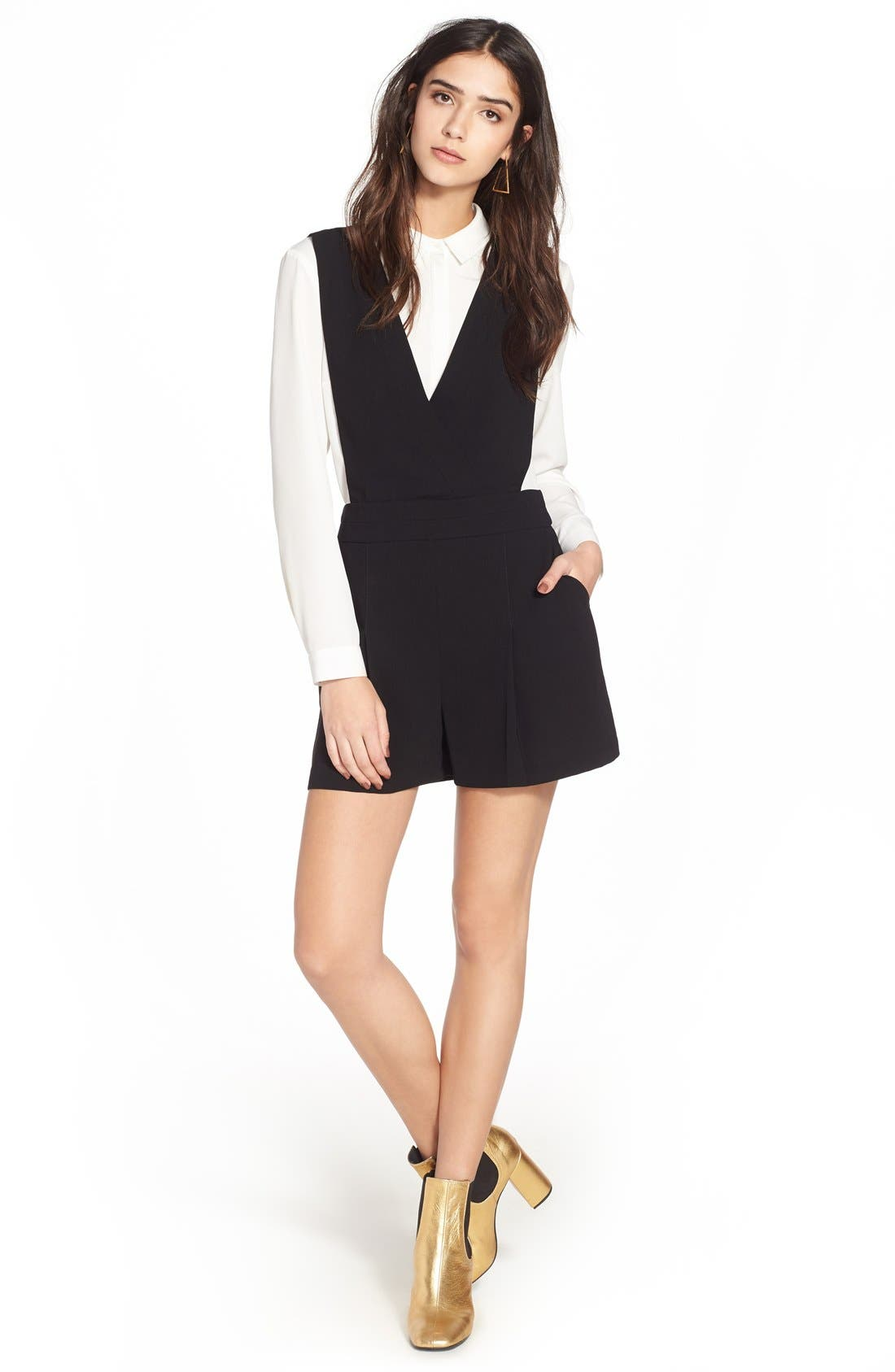 Alternate Image 5  - Topshop One-Piece Pinafore Romper