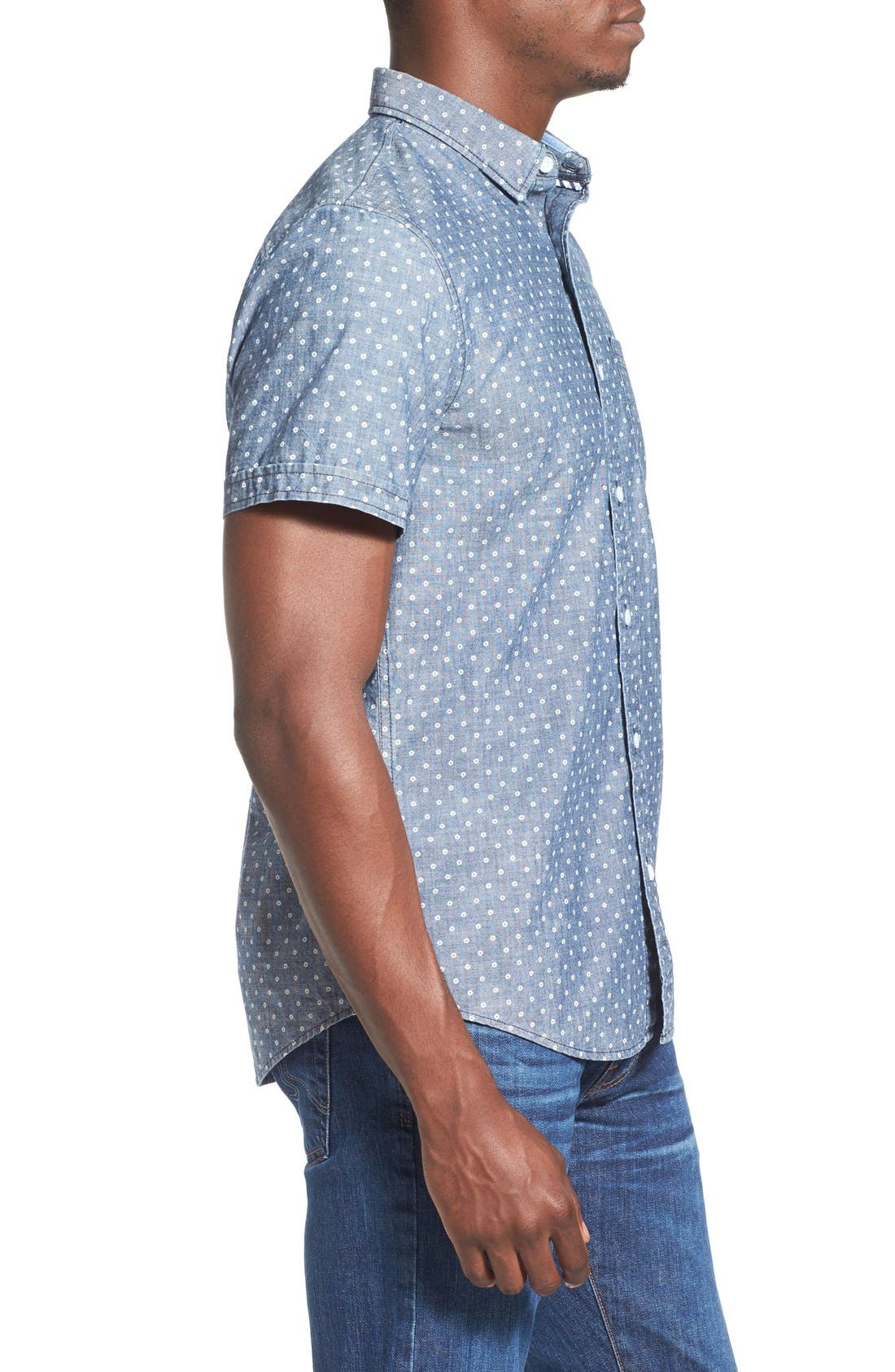 Alternate Image 3  - 1901 'Whitman' Trim Fit Short Sleeve Dot Print Chambray Shirt