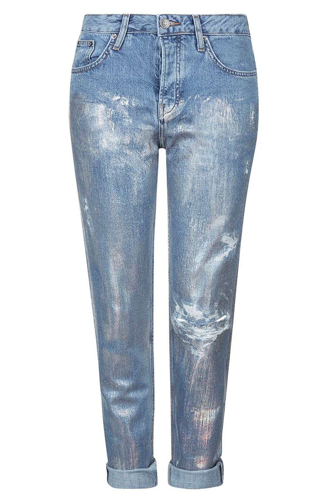 Alternate Image 4  - Topshop 'Hayden' Metallic Distressed Boyfriend Jeans (Regular & Petite)