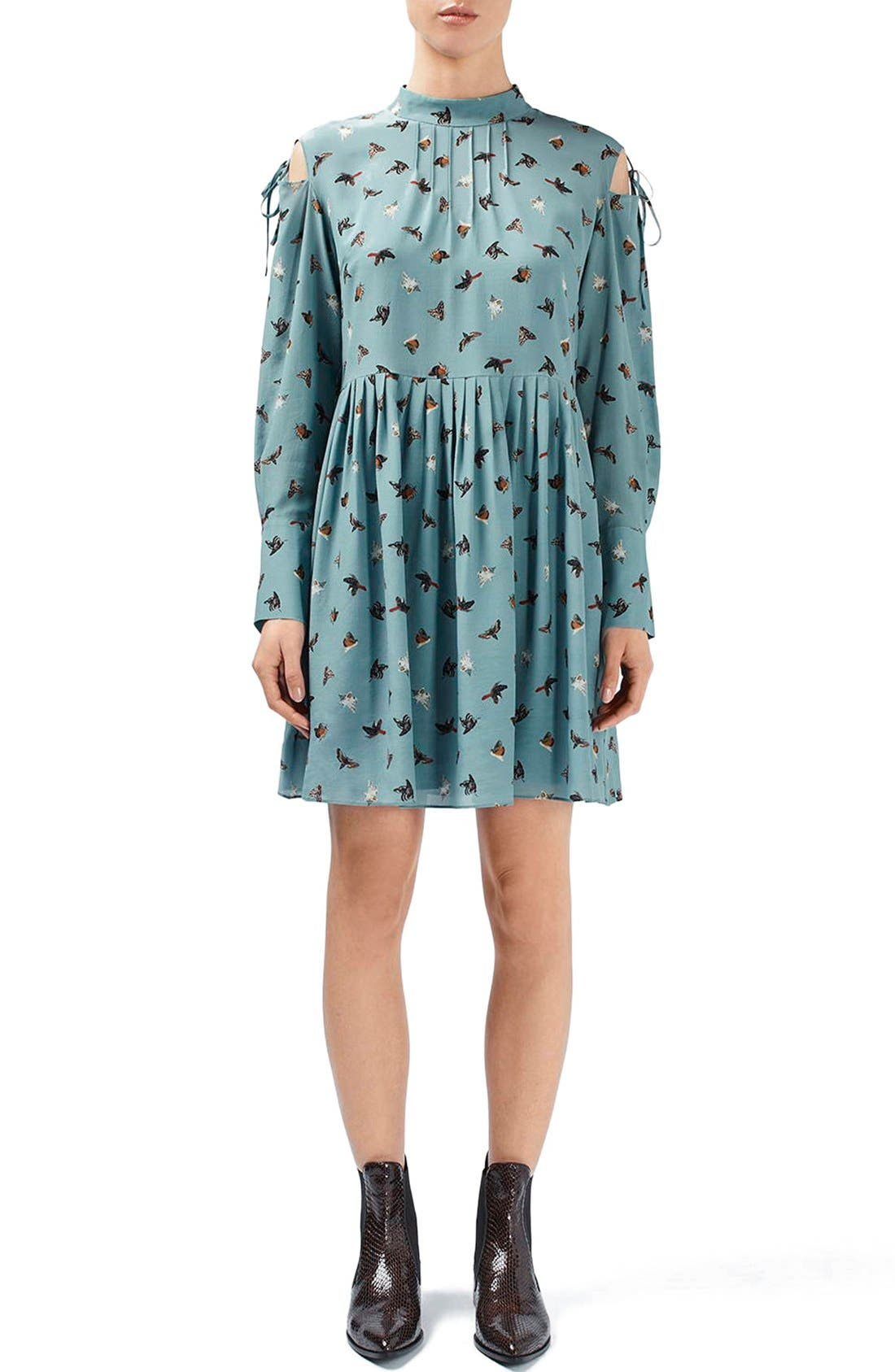 Main Image - Topshop Unique 'Campion' Butterfly Print Silk Babydoll Dress