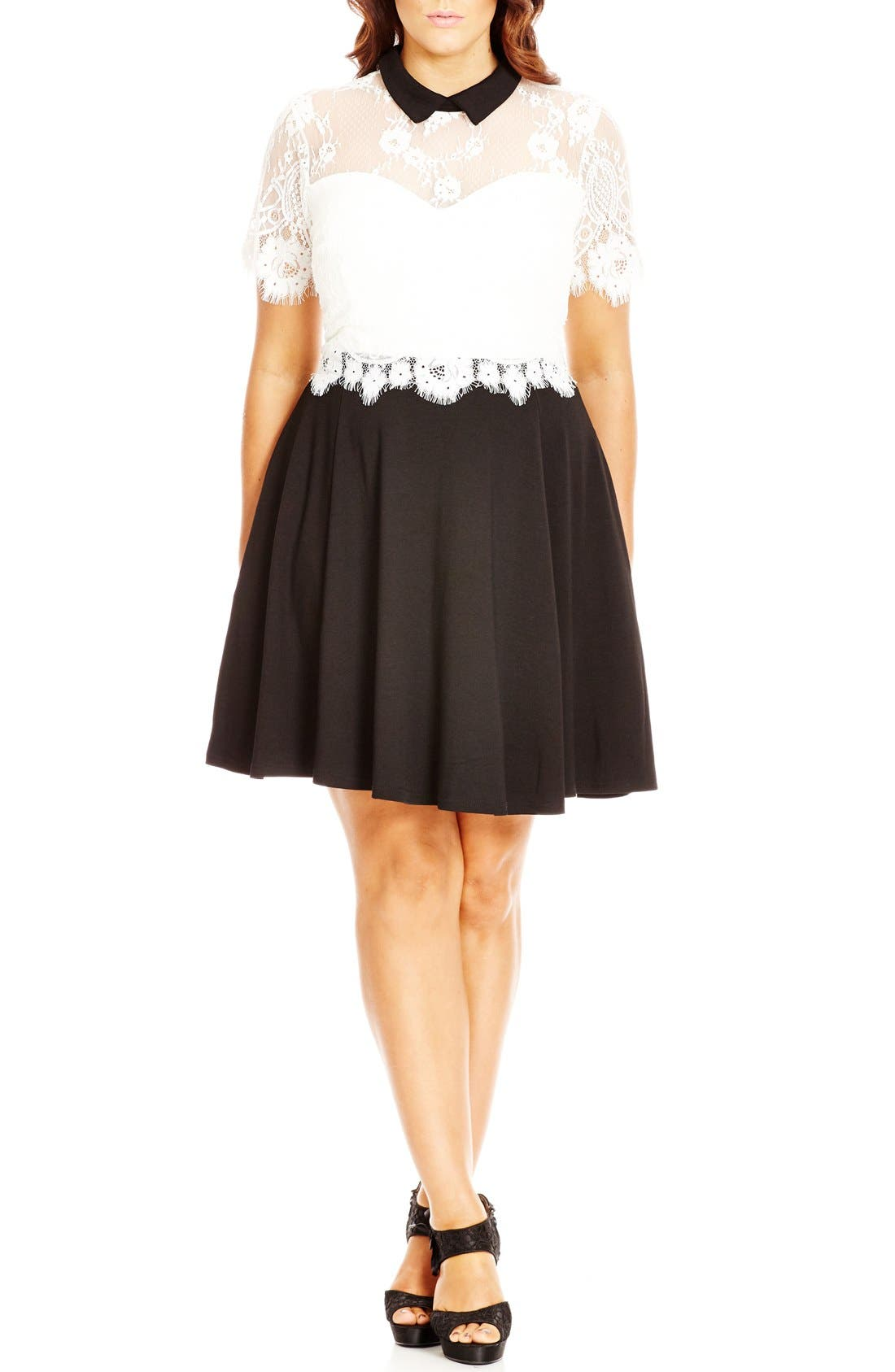 Alternate Image 1 Selected - City Chic 'Innocent Layer' Lace Bodice Mock Two-Piece Dress (Plus Size)