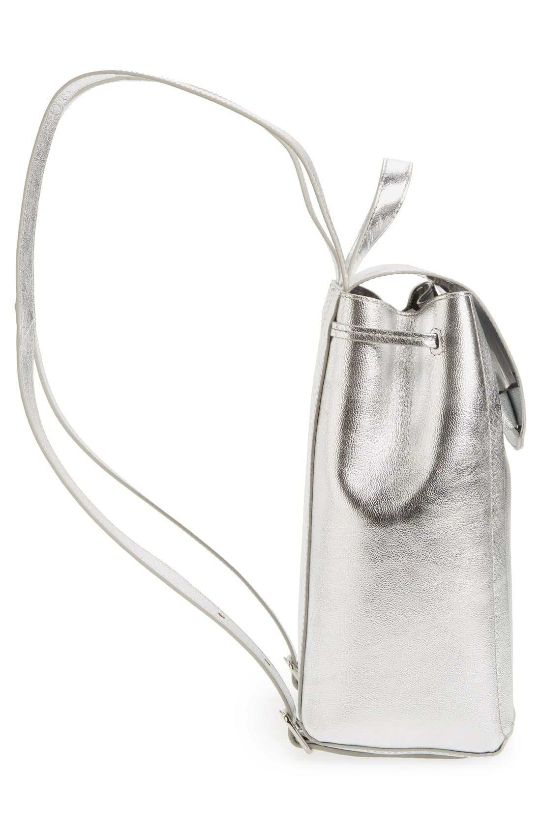 Alternate Image 5  - Loeffler Randall Mini Metallic Leather Backpack